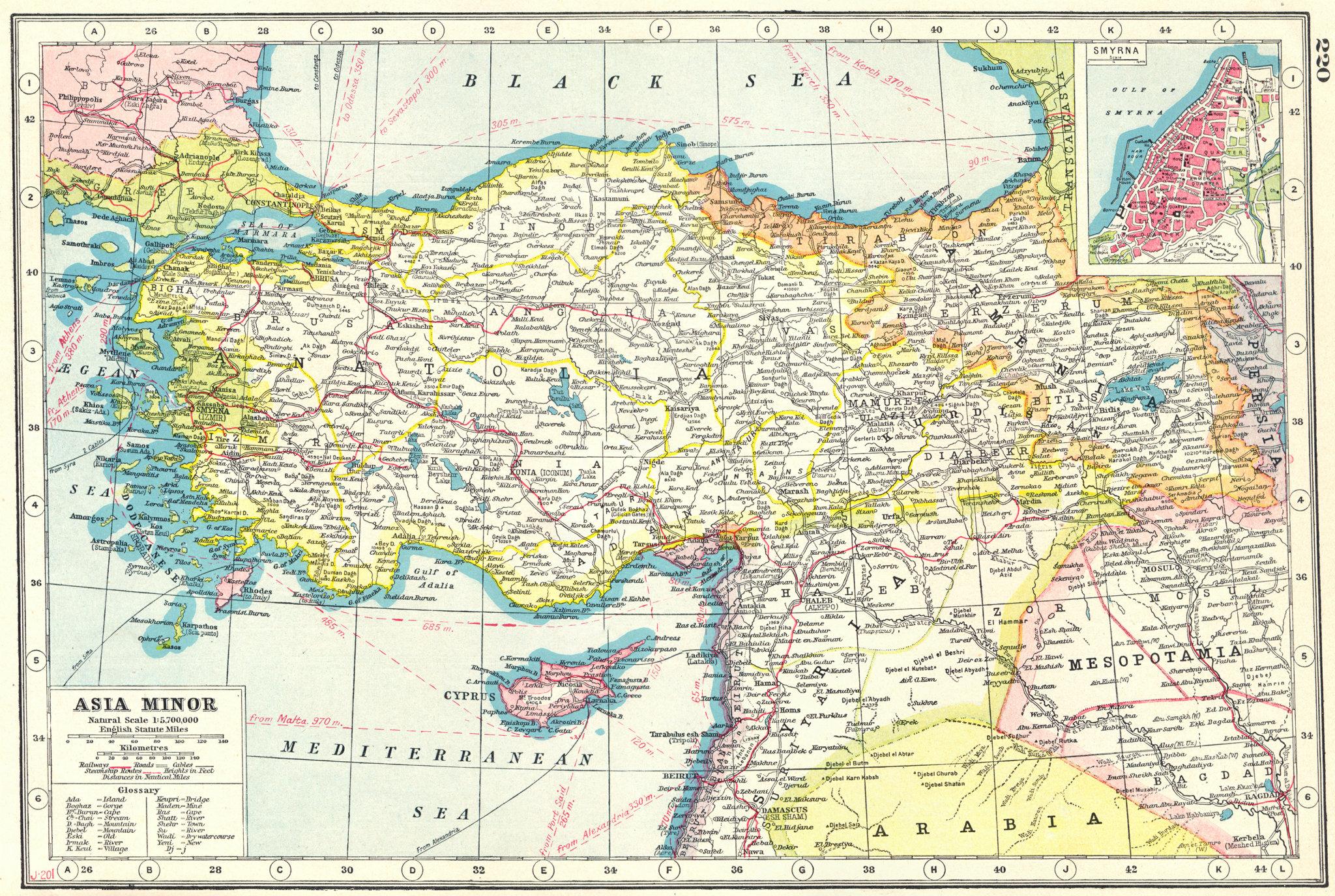 TURKEY.Asia Minor;inset Smyrna Izmir. HARMSWORTH 1920 old antique map chart
