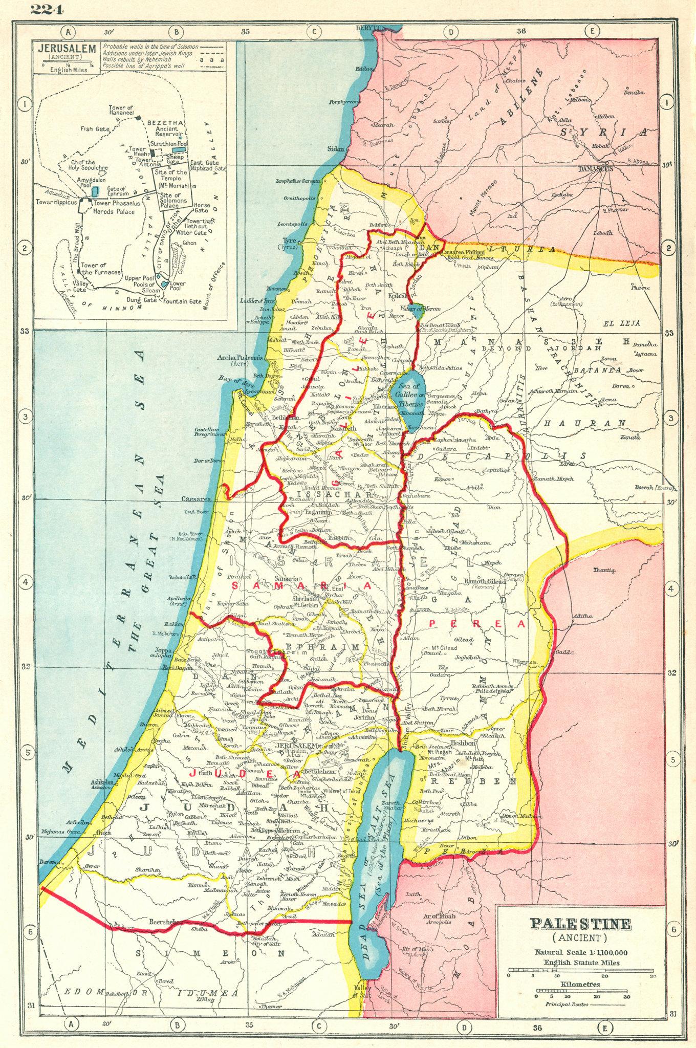 Associate Product PALESTINE ANCIENT. Roman provinces. Judea Perea Samaria Gallilee 1920 old map