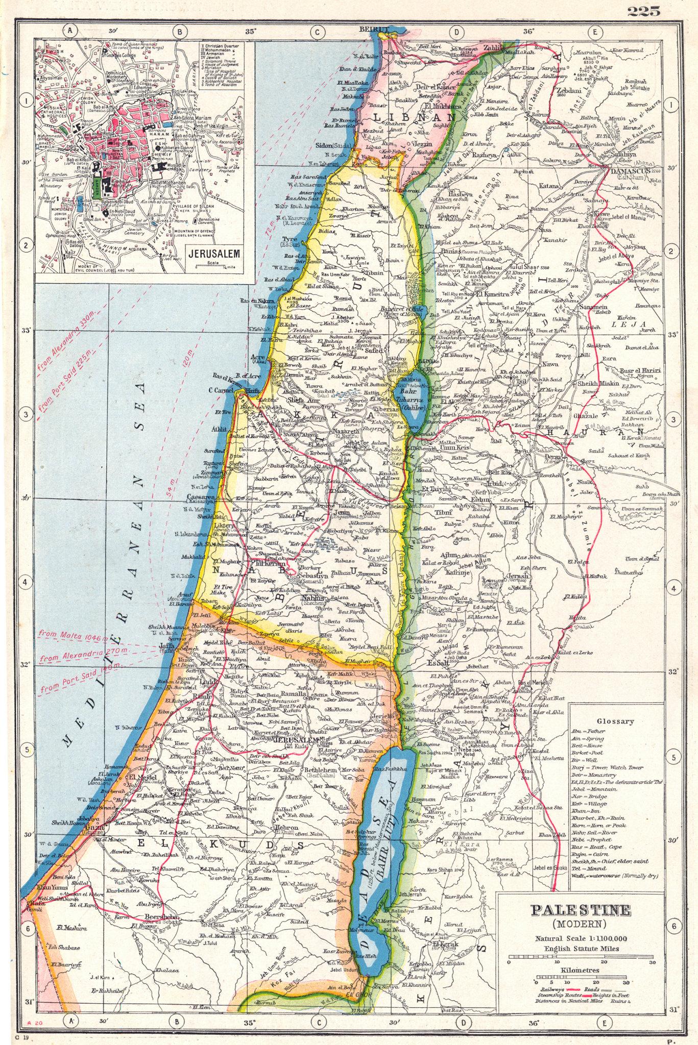 Associate Product ISRAEL LEBANON.Palestine Modern. Libnan Beirut; inset Jerusalem 1920 old map