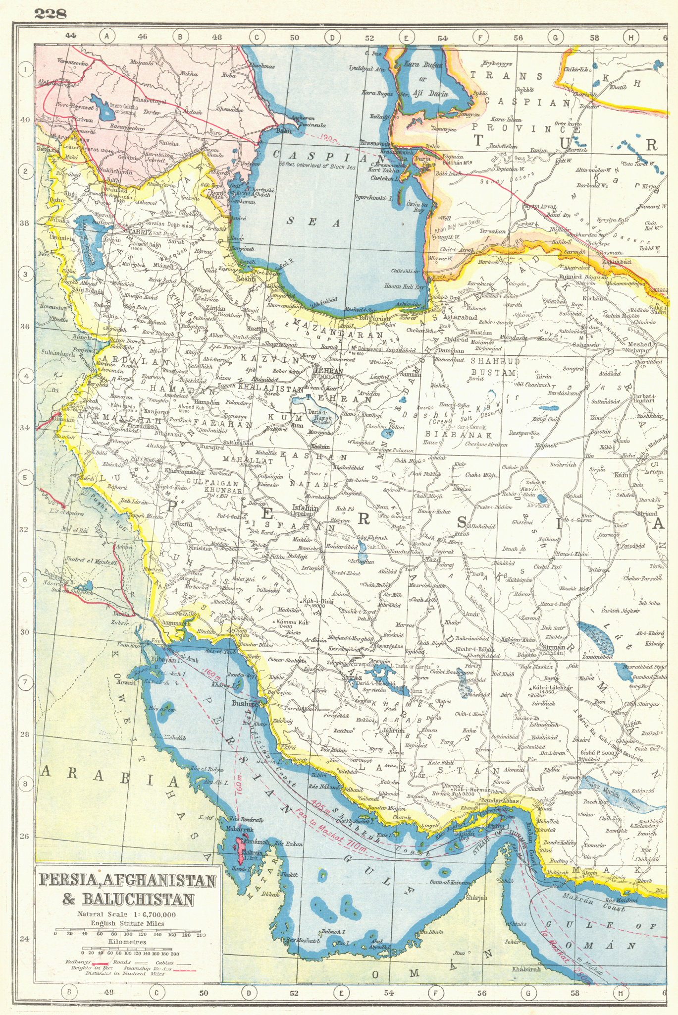 Associate Product PERSIA WEST. Iran. Roads railways.. HARMSWORTH 1920 old antique map plan chart