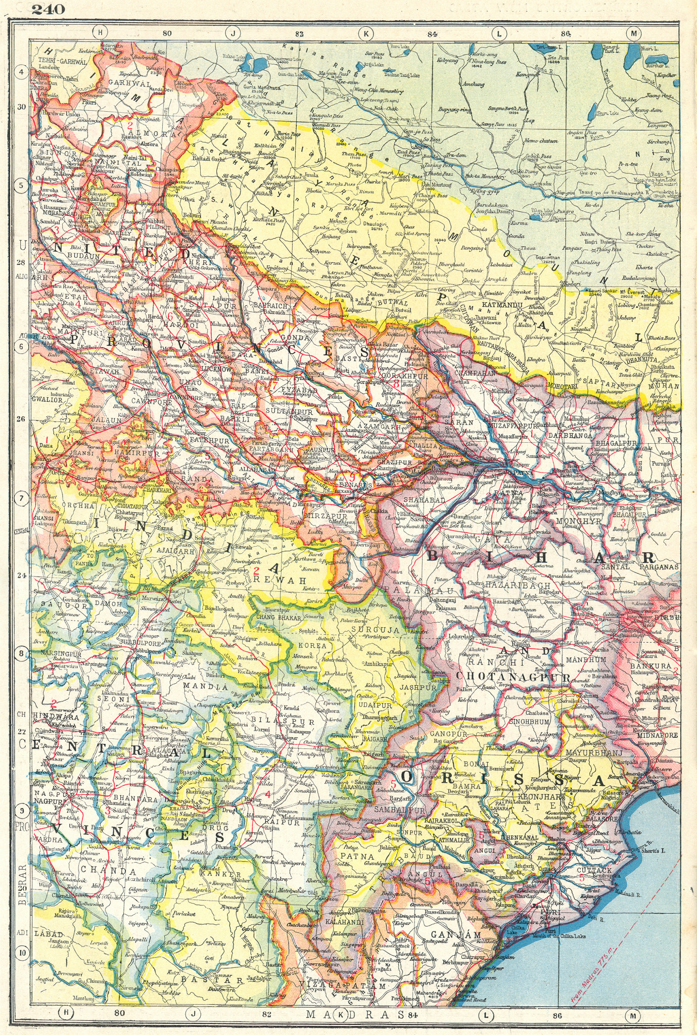 Associate Product INDIA NORTH EAST. Orissa Bihar United & Central Provinces Nepal 1920 old map