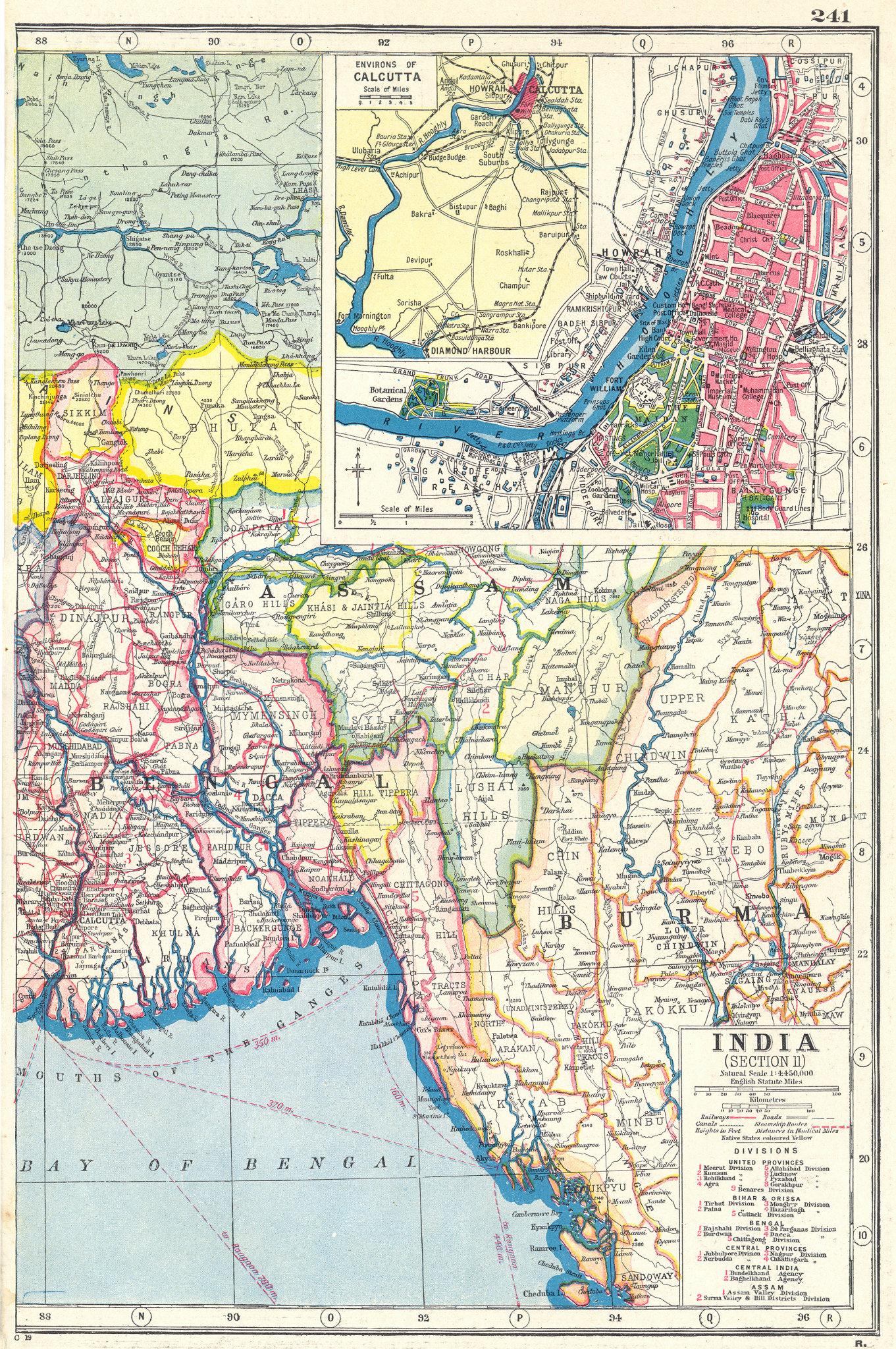 Associate Product BANGLADESH. Bengal Burma; inset Calcutta Kolkata  city & area 1920 old map