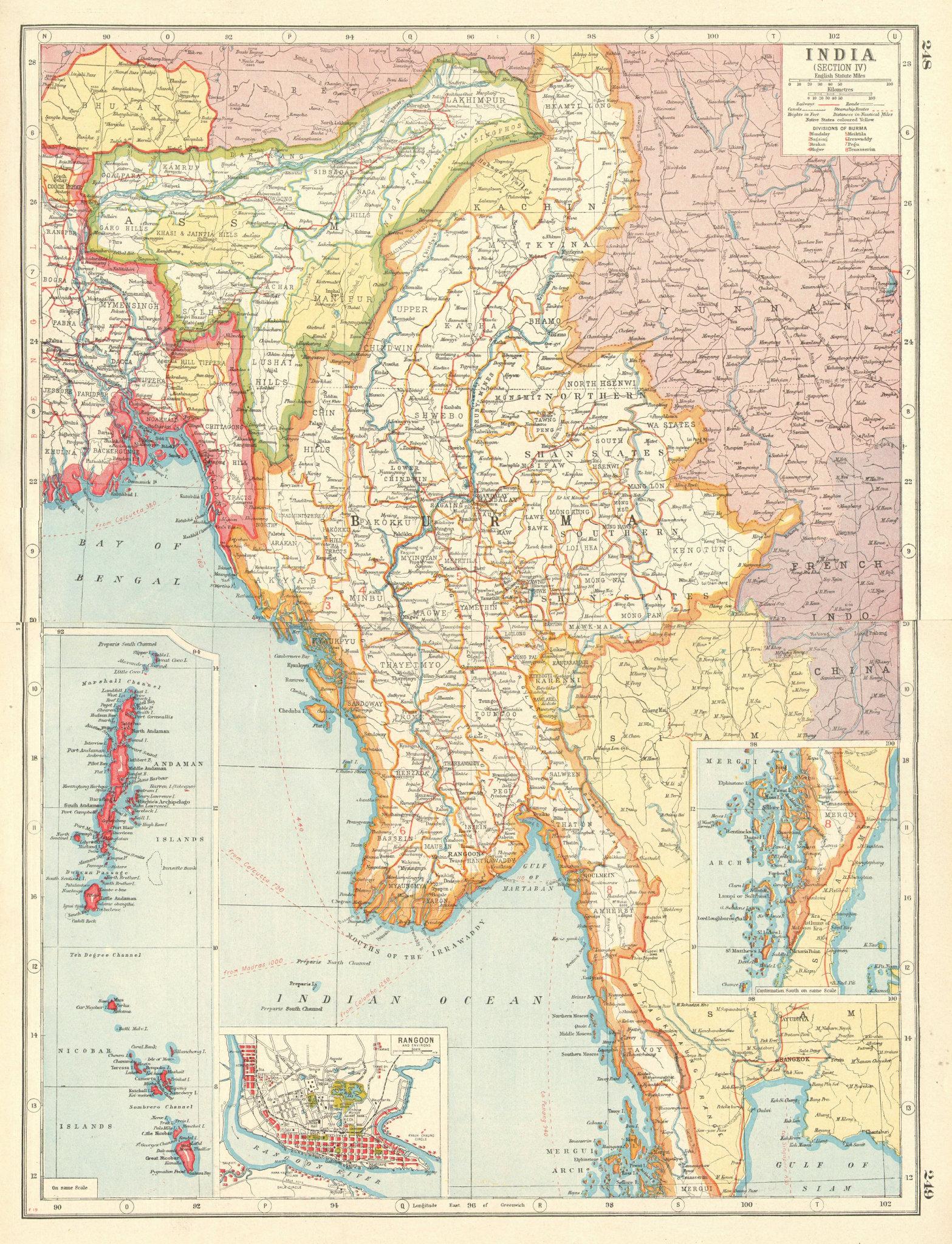 Associate Product BURMA MYANMAR. inset Rangoon Mergui Andaman Nicobar Islands 1920 old map