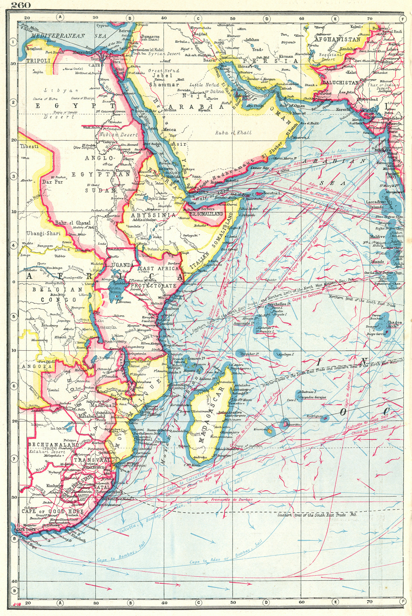 Associate Product INDIAN OCEAN WEST. Africa. British Empire.Shows winds & ocean currents 1920 map