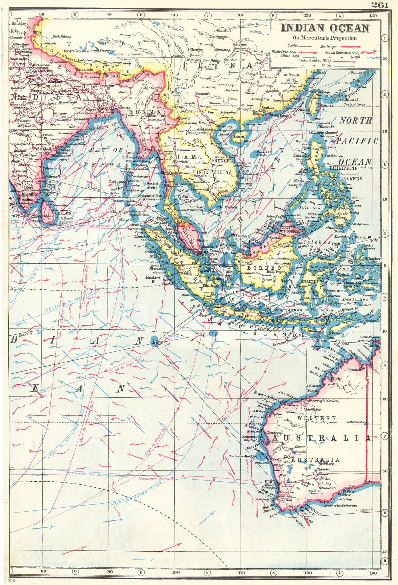 Associate Product INDIAN OCEAN EAST. East Indies. Shows winds & ocean currents 1920 old map