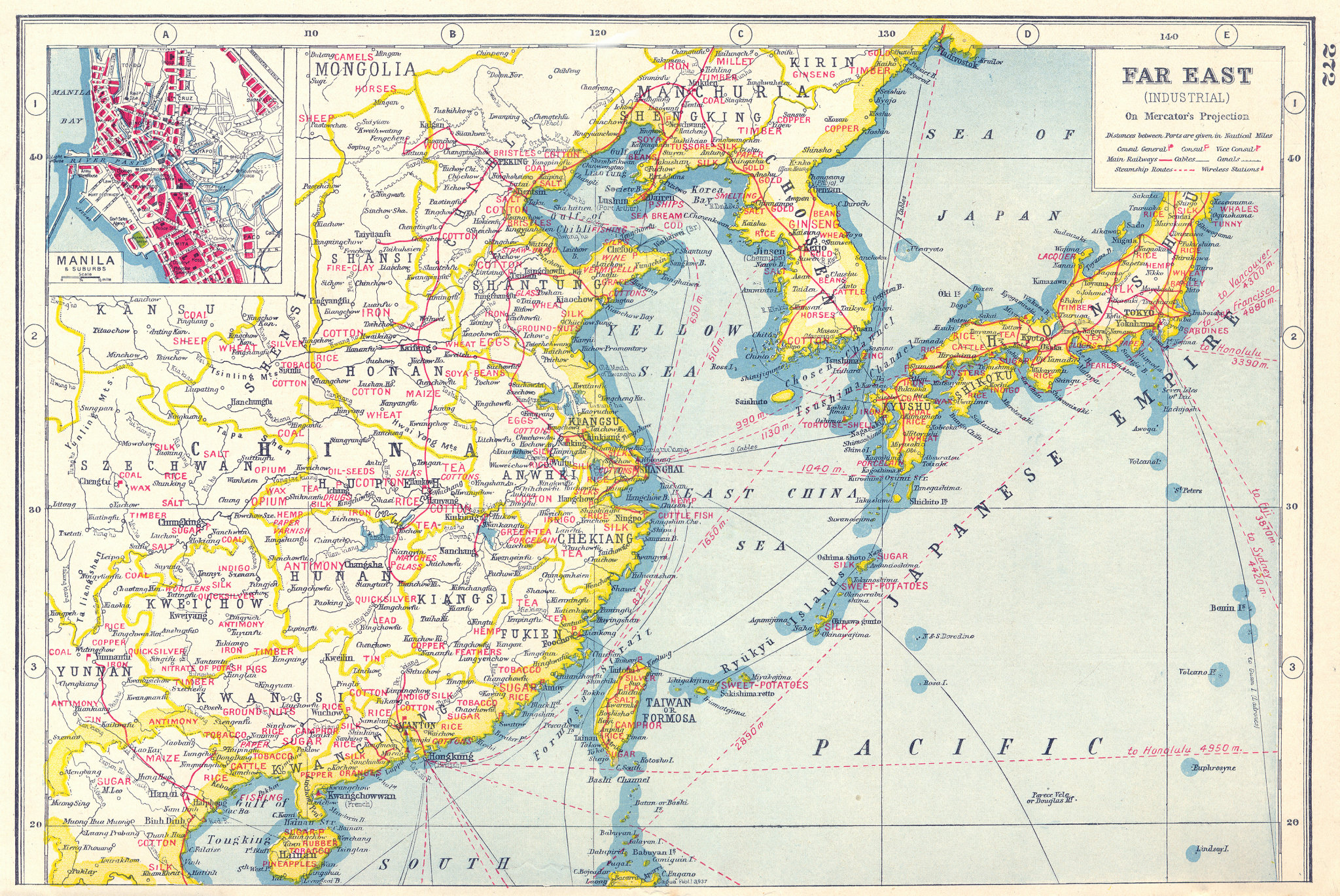 Associate Product EAST ASIA AGRICULTURAL/MINERAL PRODUCTS.China Japan Korea.Manila plan 1920 map