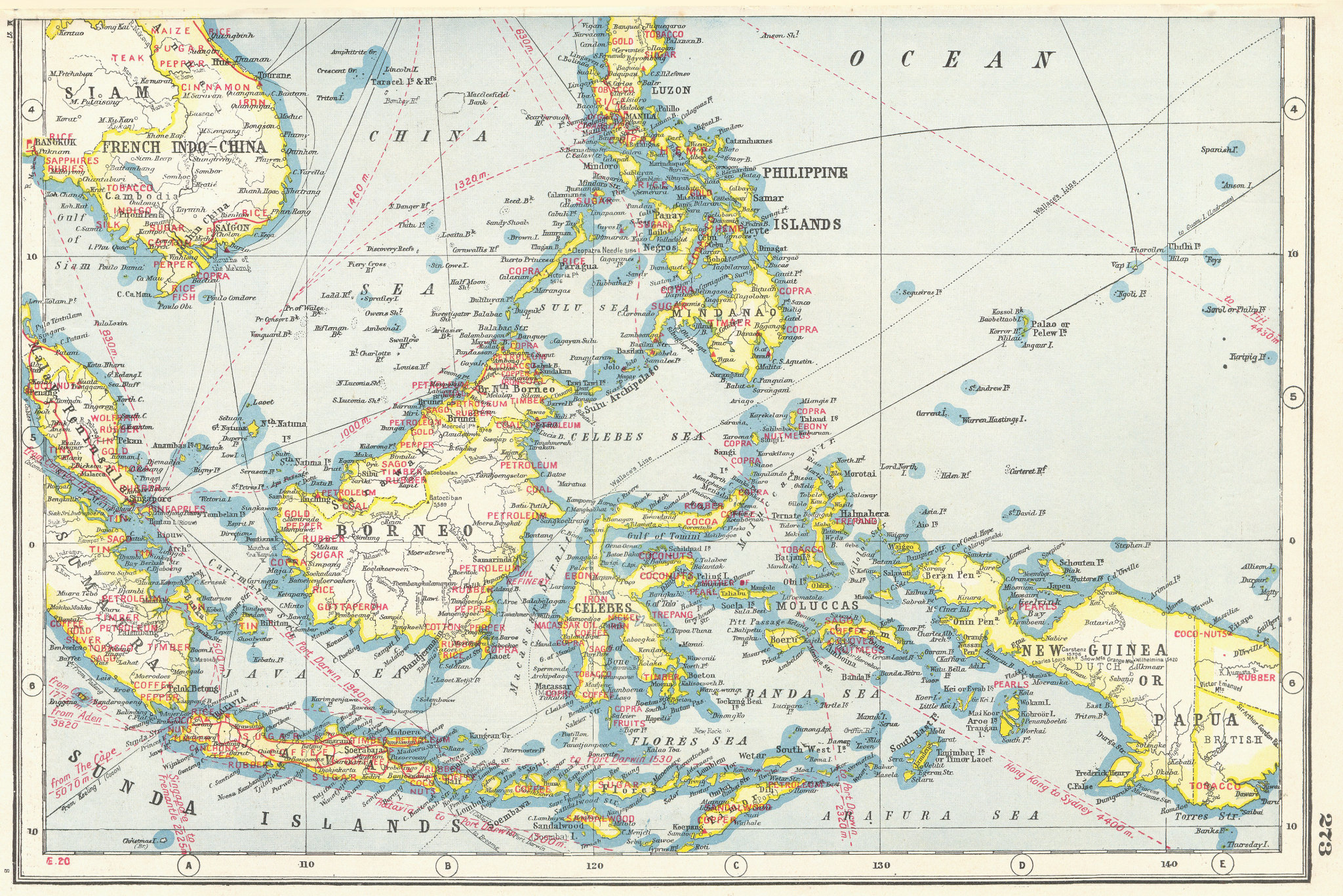 INDONESIA PHILIPPINES. South East Asia.Industrial showing key products 1920 map