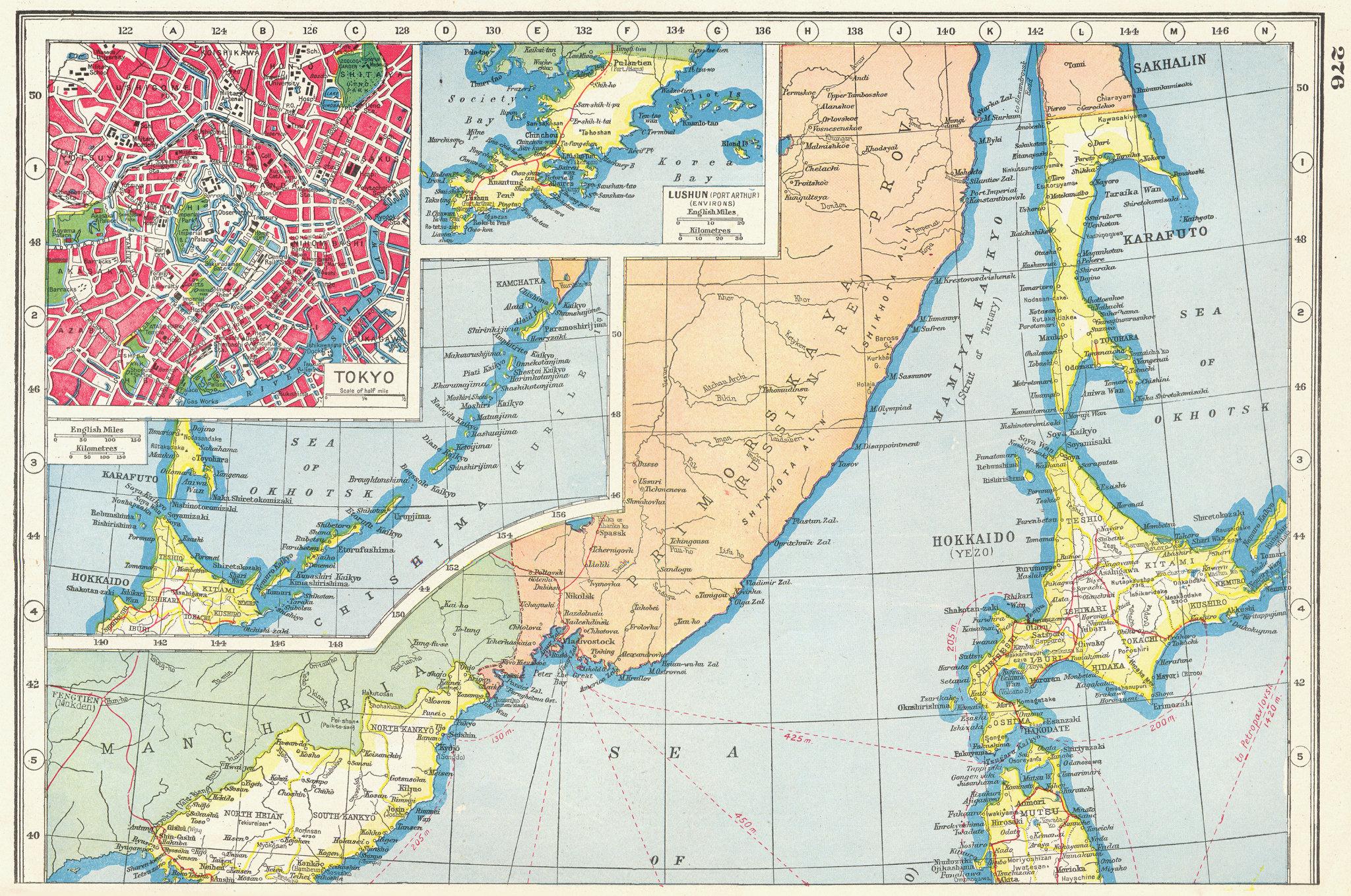 Associate Product NORTHERN JAPAN. inset Tokyo plan. Lushun Port Arthur Hokkaido Kuriles 1920 map
