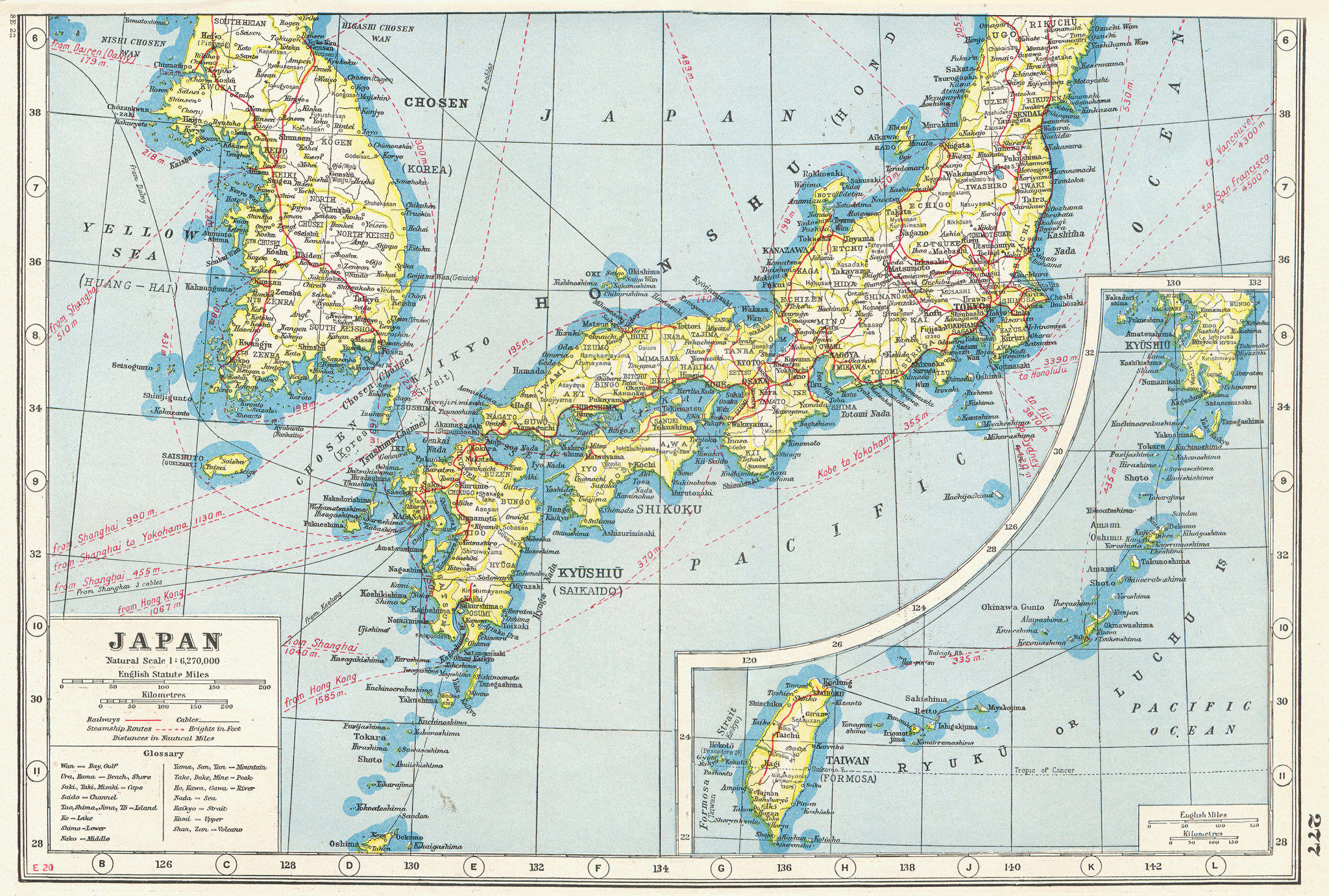 Associate Product SOUTHERN JAPAN KOREA & FORMOSA. South Korea Taiwan railways 1920 old map