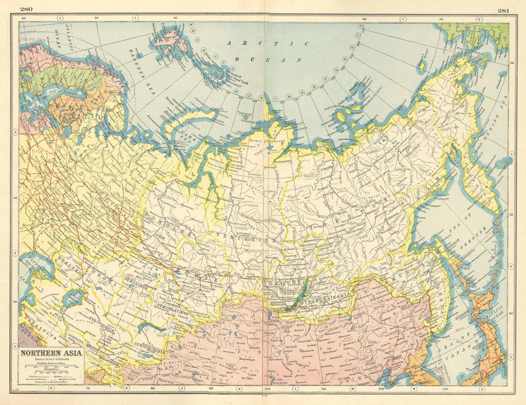 Associate Product RUSSIA NORTHERN ASIA. Siberia Mongolia Arctic Ocean. HARMSWORTH 1920 old map