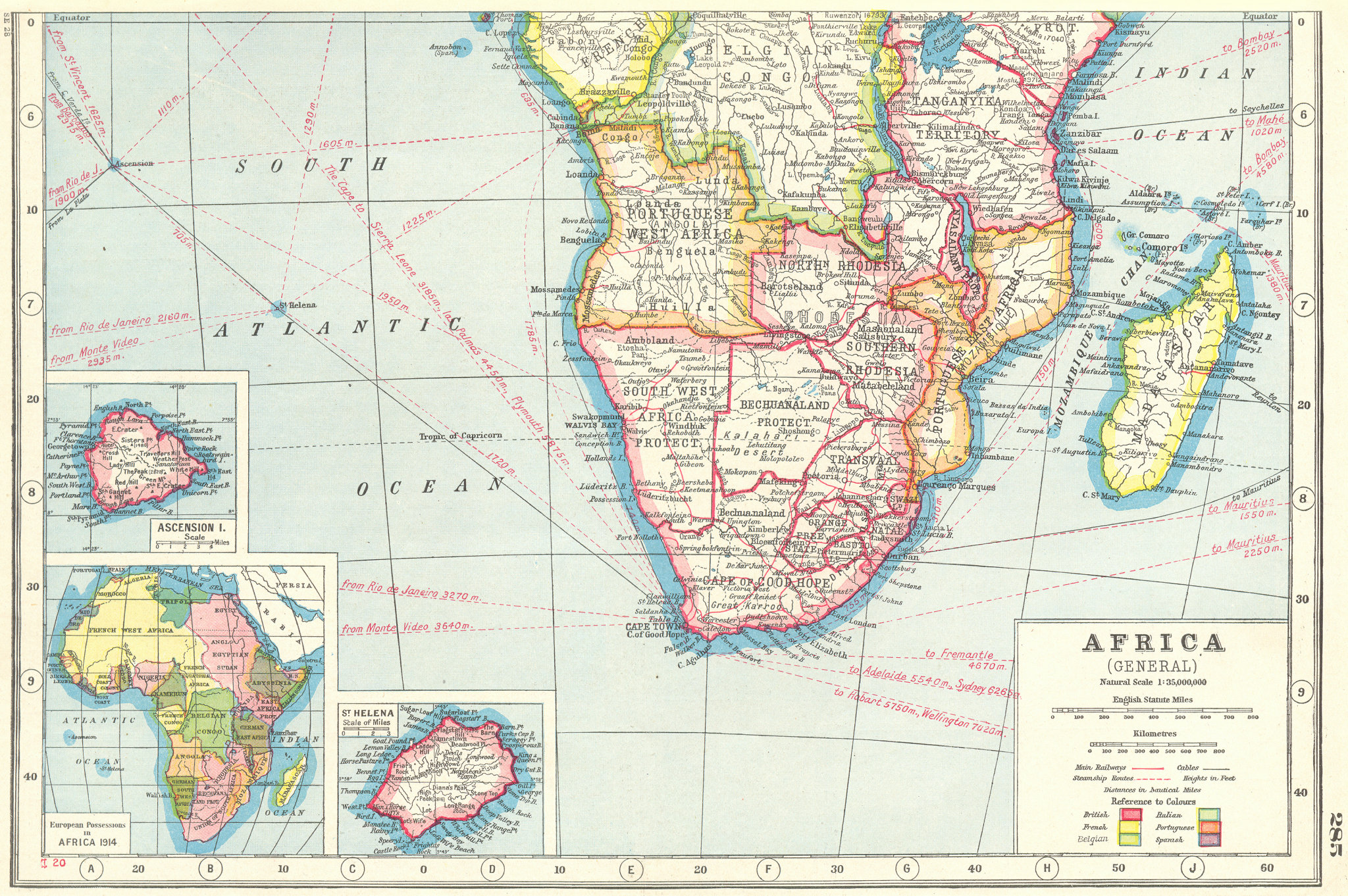 Associate Product SOUTHERN AFRICA.Inset Ascension Is.; European colonies 1914;St Helena 1920 map