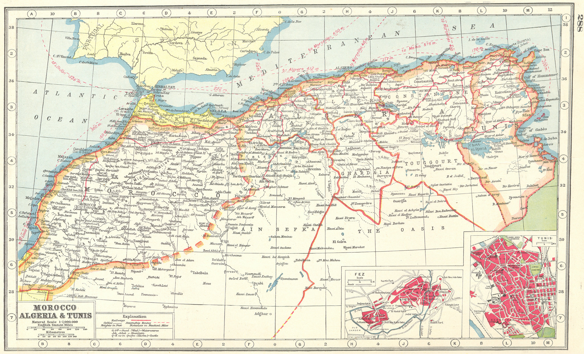 Associate Product NORTH AFRICA. Morocco Algeria Tunisia. inset Fes Fez ;Tunis 1920 old map