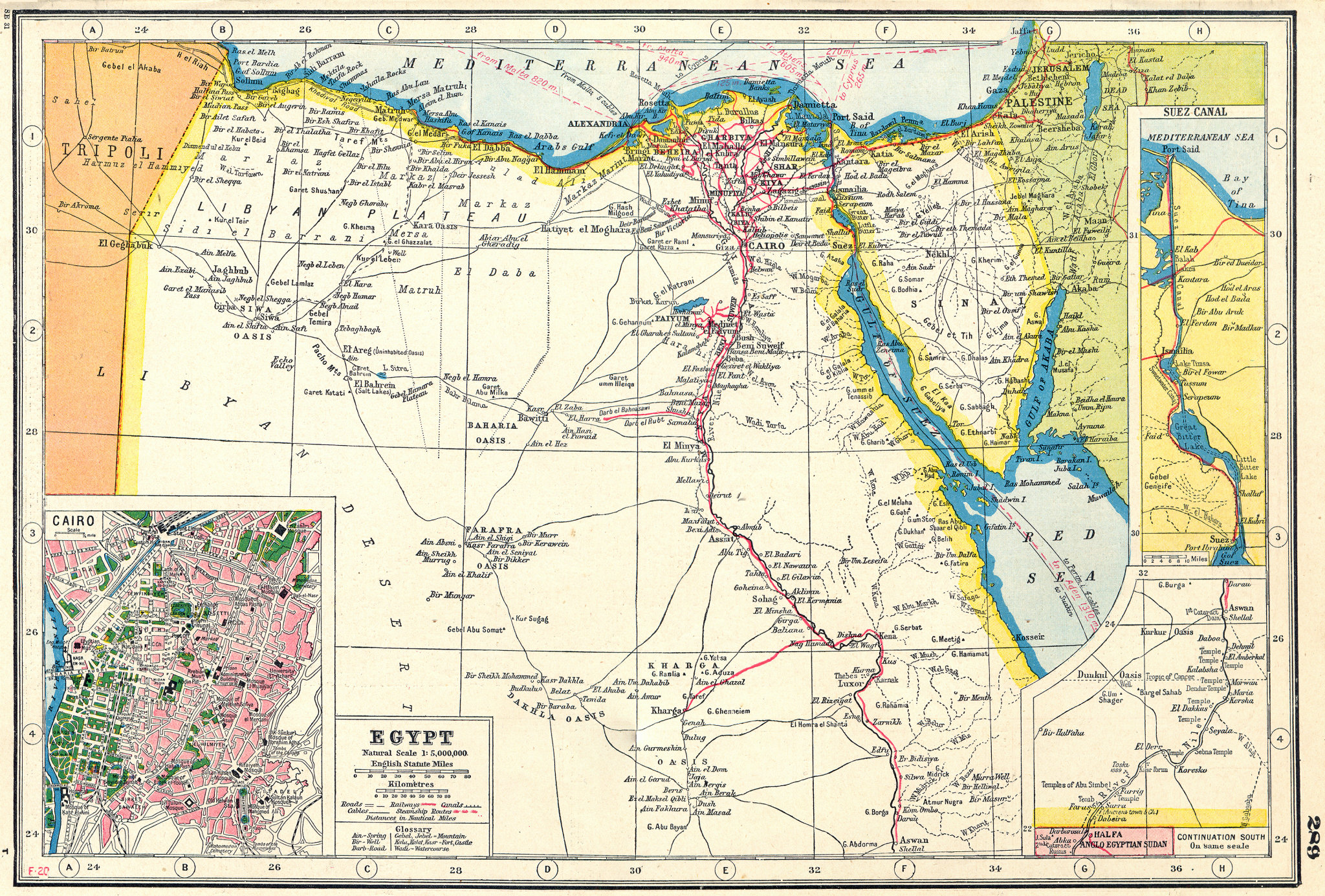 Associate Product EGYPT. inset Cairo & Suez canal . HARMSWORTH 1920 old antique map plan chart