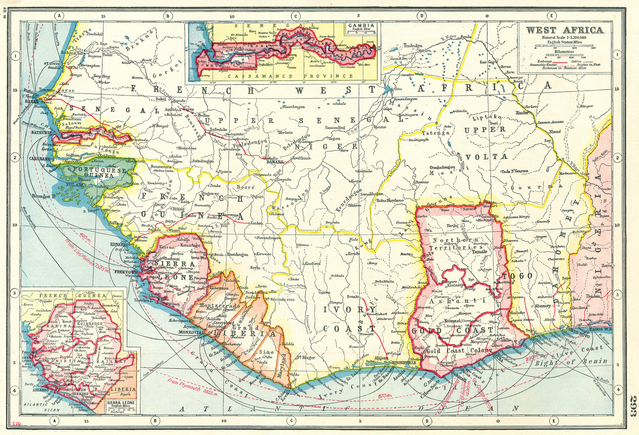 Associate Product WEST AFRICA. French. Gold Coast Ghana. inset Gambia; Sierra Leone 1920 map