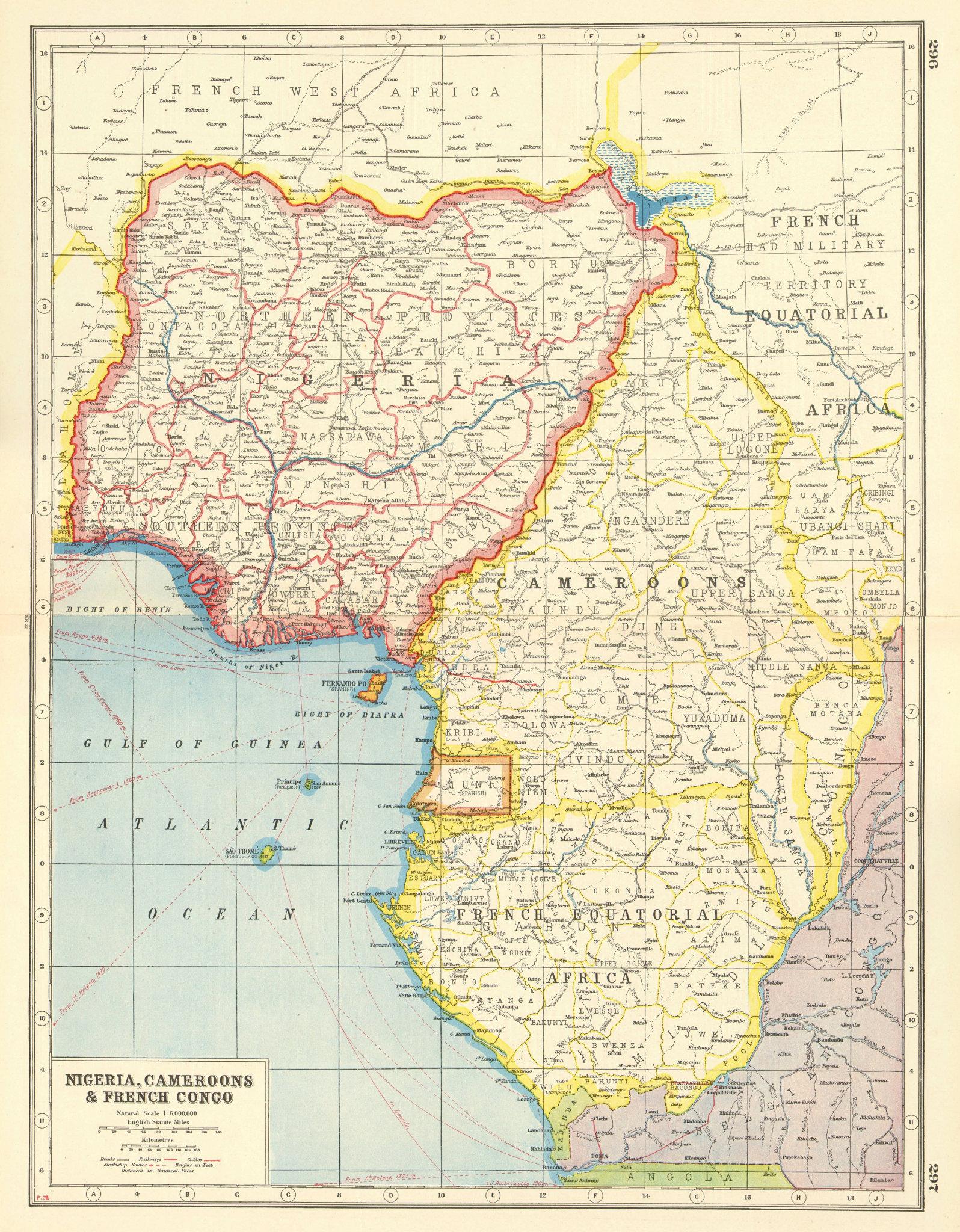 Associate Product GULF OF GUINEA. Nigeria Cameroon Muni French Equatorial Africa(Gabon) 1920 map