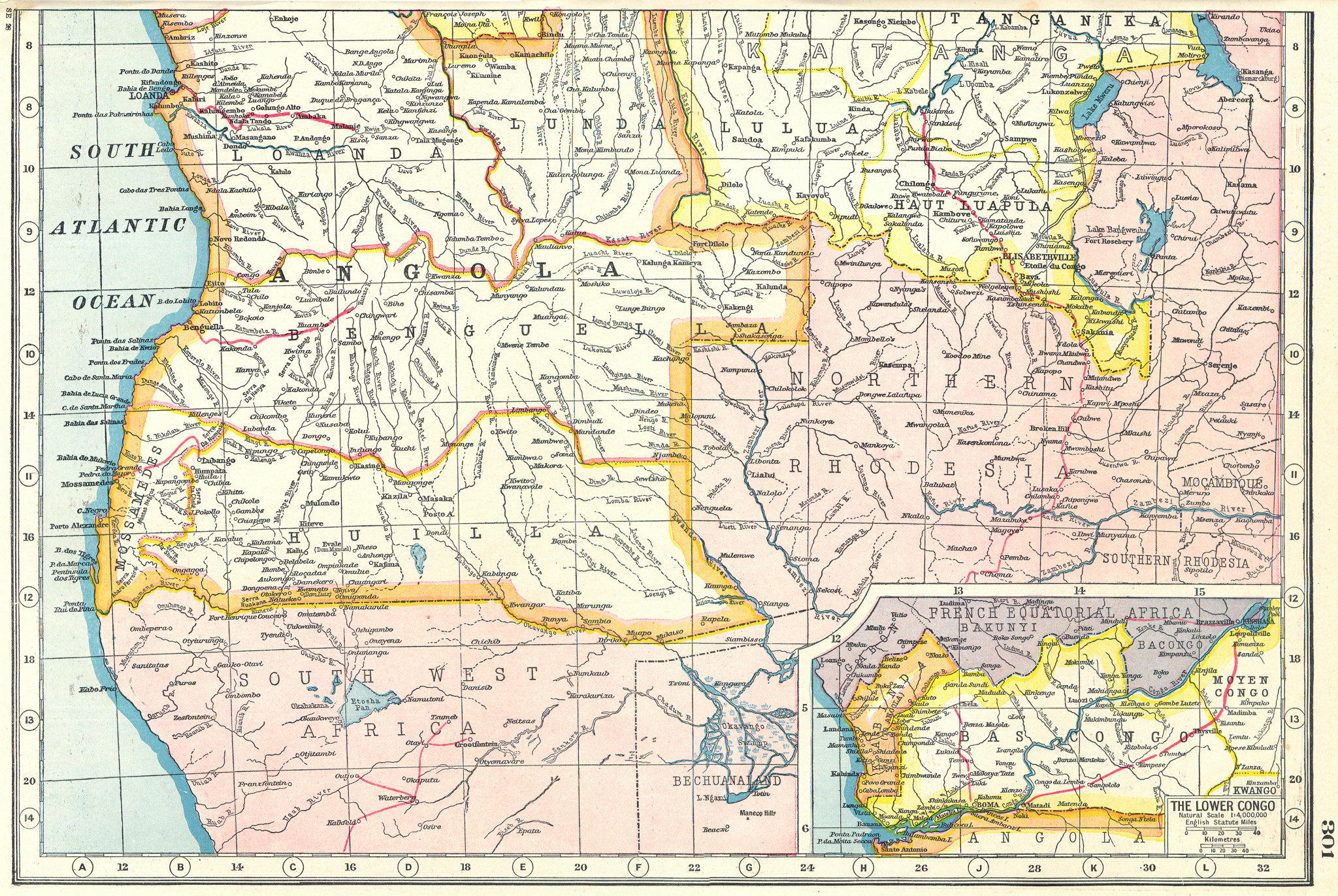 Associate Product ANGOLA. Inset Bas Congo Lower Congo. HARMSWORTH 1920 old antique map chart
