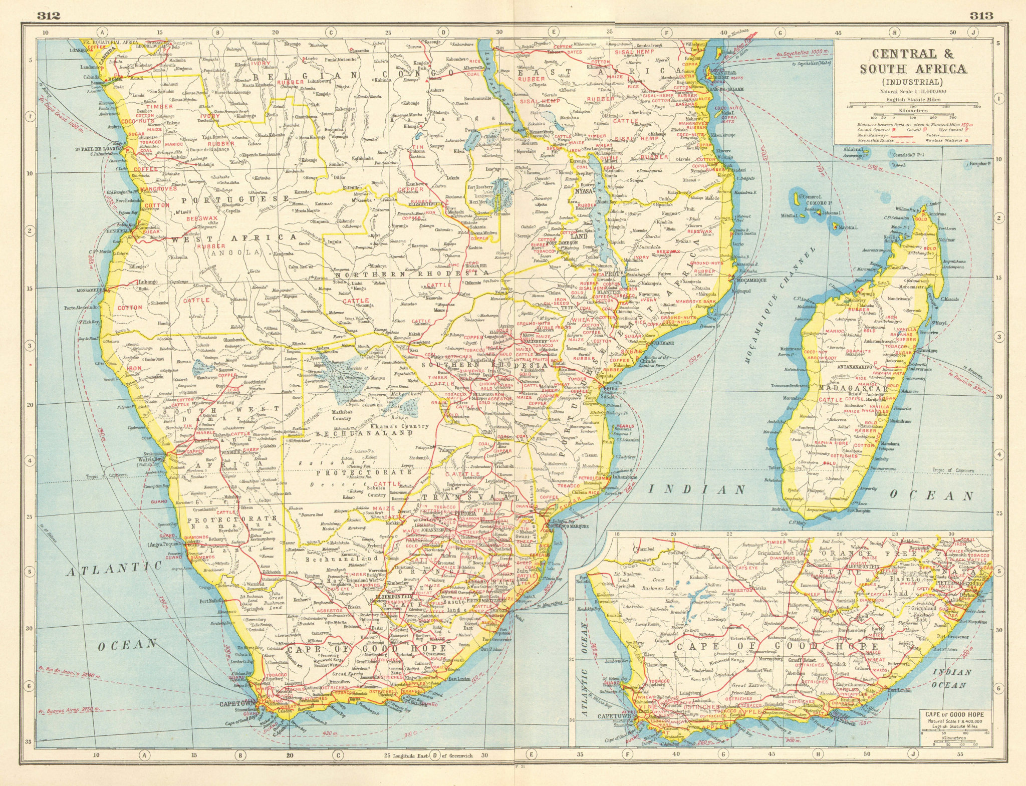Associate Product SOUTHERN AFRICA AGRICULTURAL/MINERAL PRODUCTS. Diamonds Gold Ivory &c 1920 map