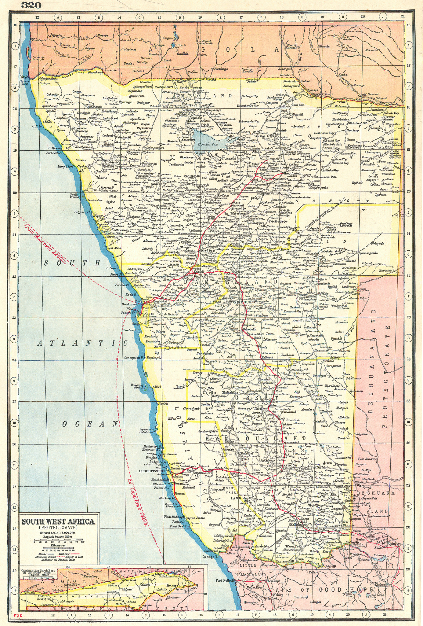 Associate Product NAMIBIA. South West Africa protectorate. HARMSWORTH 1920 old antique map chart
