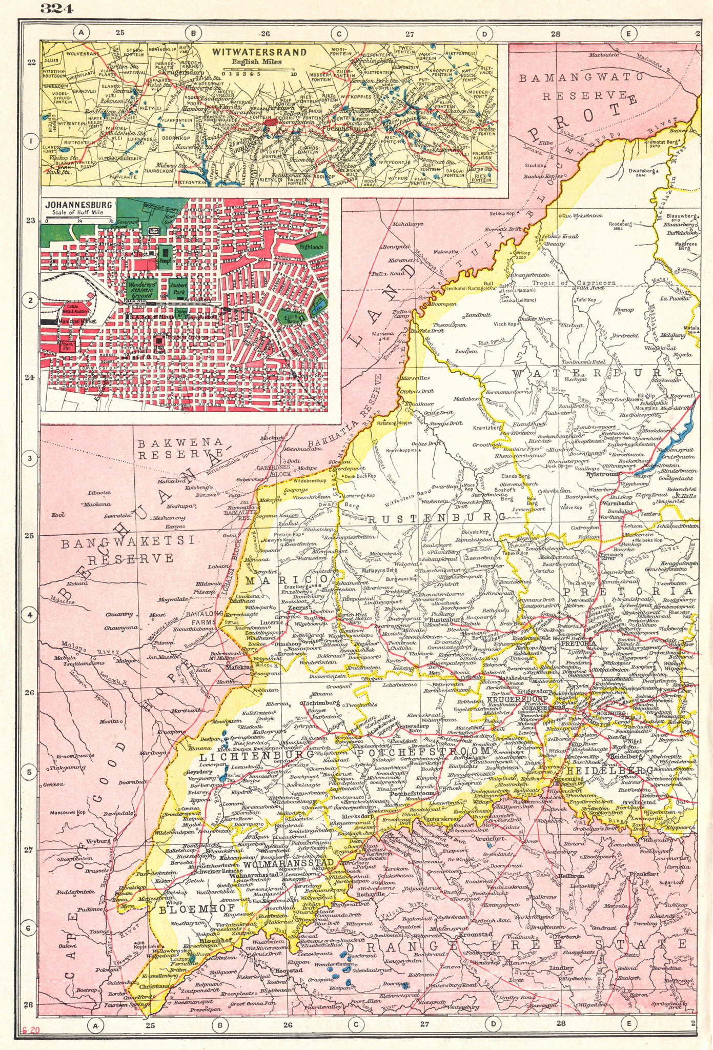 Associate Product TRANSVAAL WEST. SOUTH AFRICA. Inset Witwatersrand; Johannesburg 1920 old map