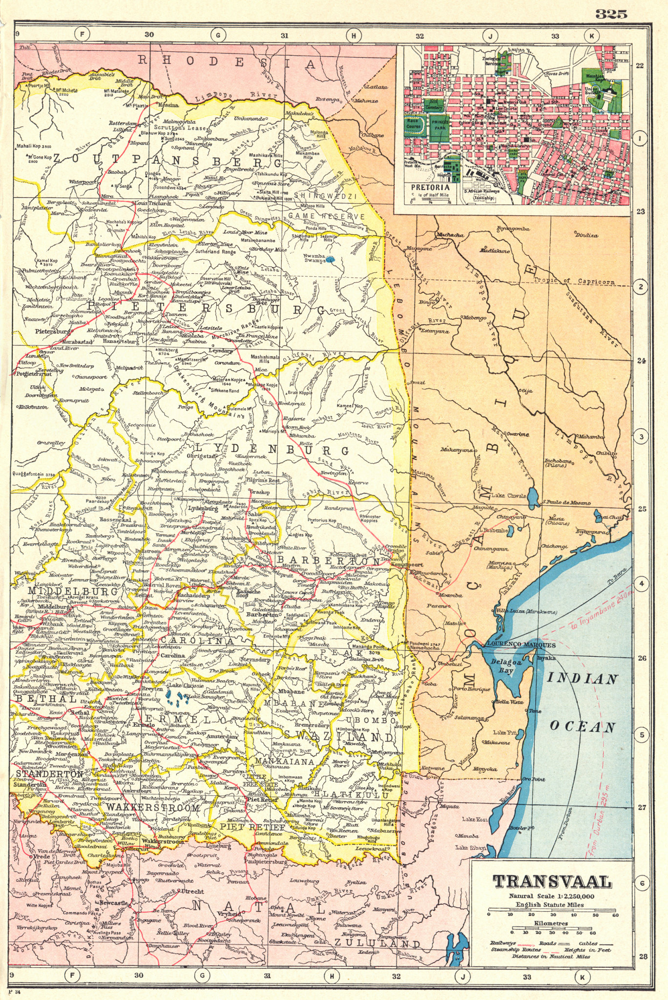 Associate Product TRANSVAAL EAST. SOUTH AFRICA. Inset town plan of Pretoria. Railways 1920 map