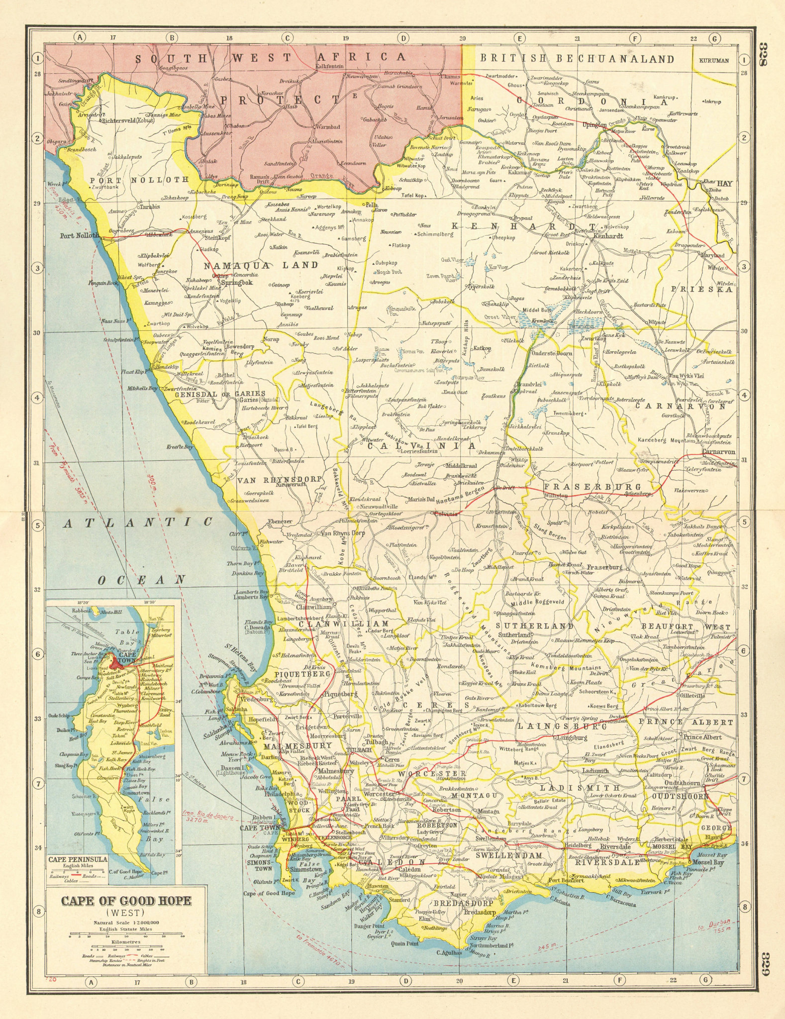 Associate Product WESTERN CAPE/CAPE OF GOOD HOPE.Inset Cape Peninsula.Cape Town.Railways 1920 map