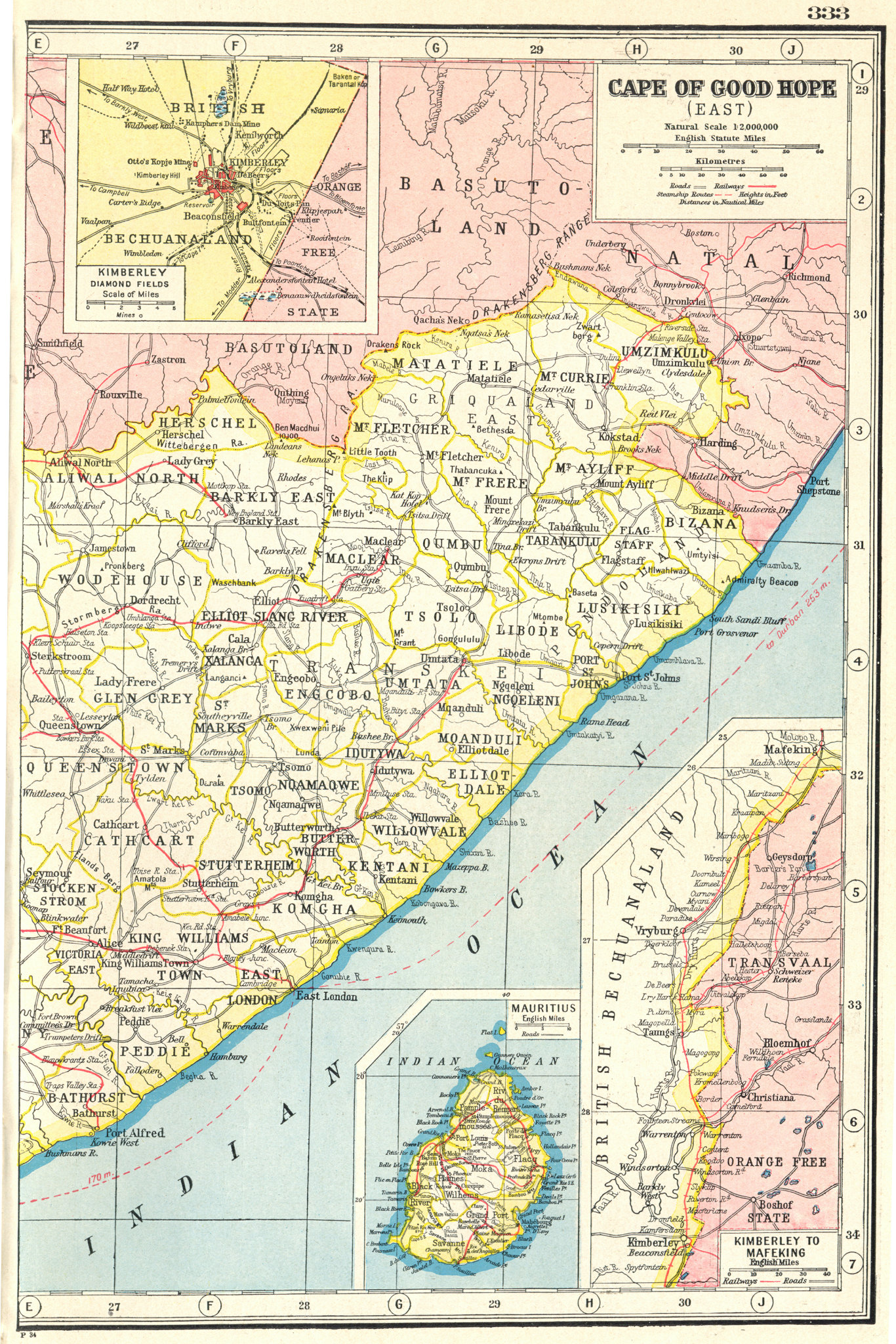 Associate Product EASTERN CAPE. Inset map of the Kimberley diamond fields. South Africa 1920