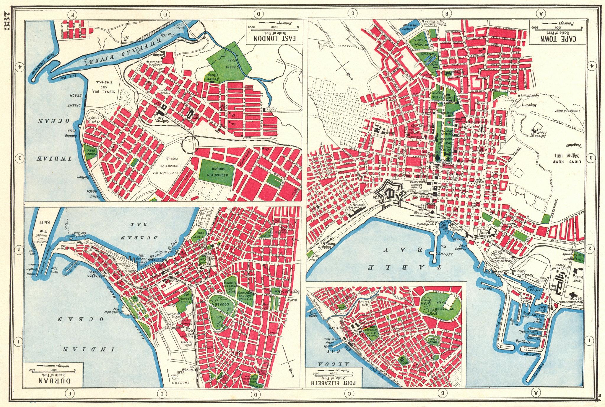 Associate Product SOUTH AFRICAN PORTS. Port Elizabeth Durban Cape Town East London plans 1920 map