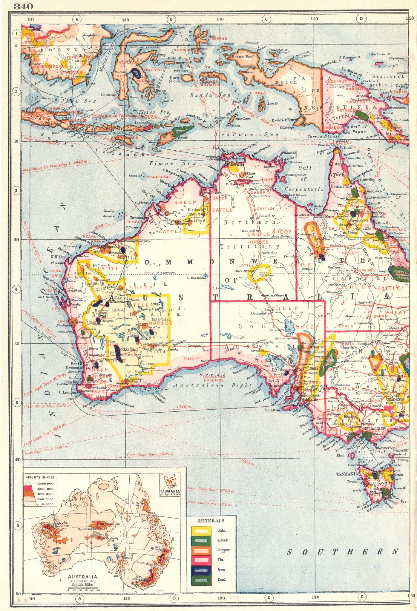 Associate Product AUSTRALIA MINERALS & MINING.Goldfields Coal Copper Tin.Farm products 1920 map
