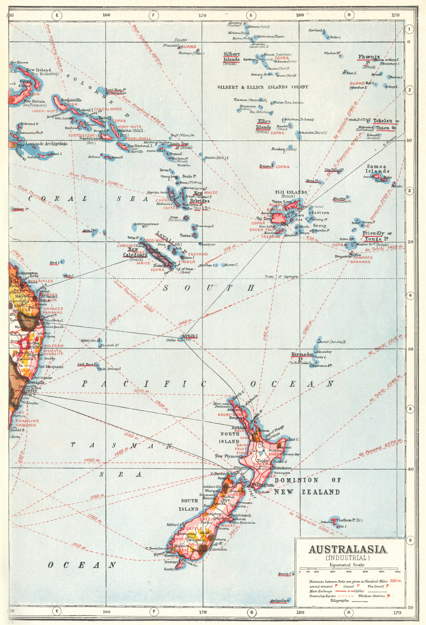 Associate Product NEW ZEALAND FIJI PACIFIC ISLANDS. Industrial showing key products 1920 old map