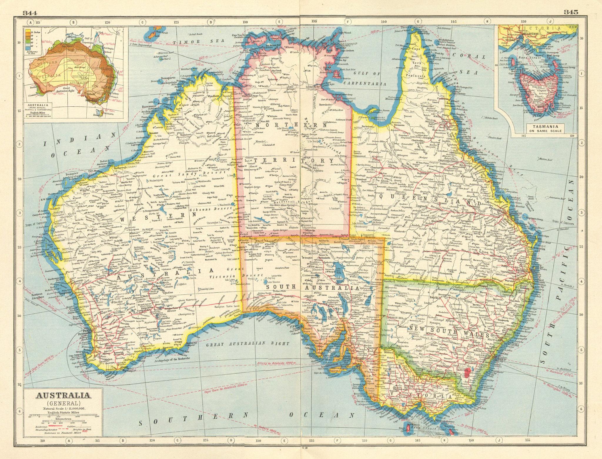 Associate Product AUSTRALIA. Railways Steamship routes telegraph cables. Rainfall Temp 1920 map