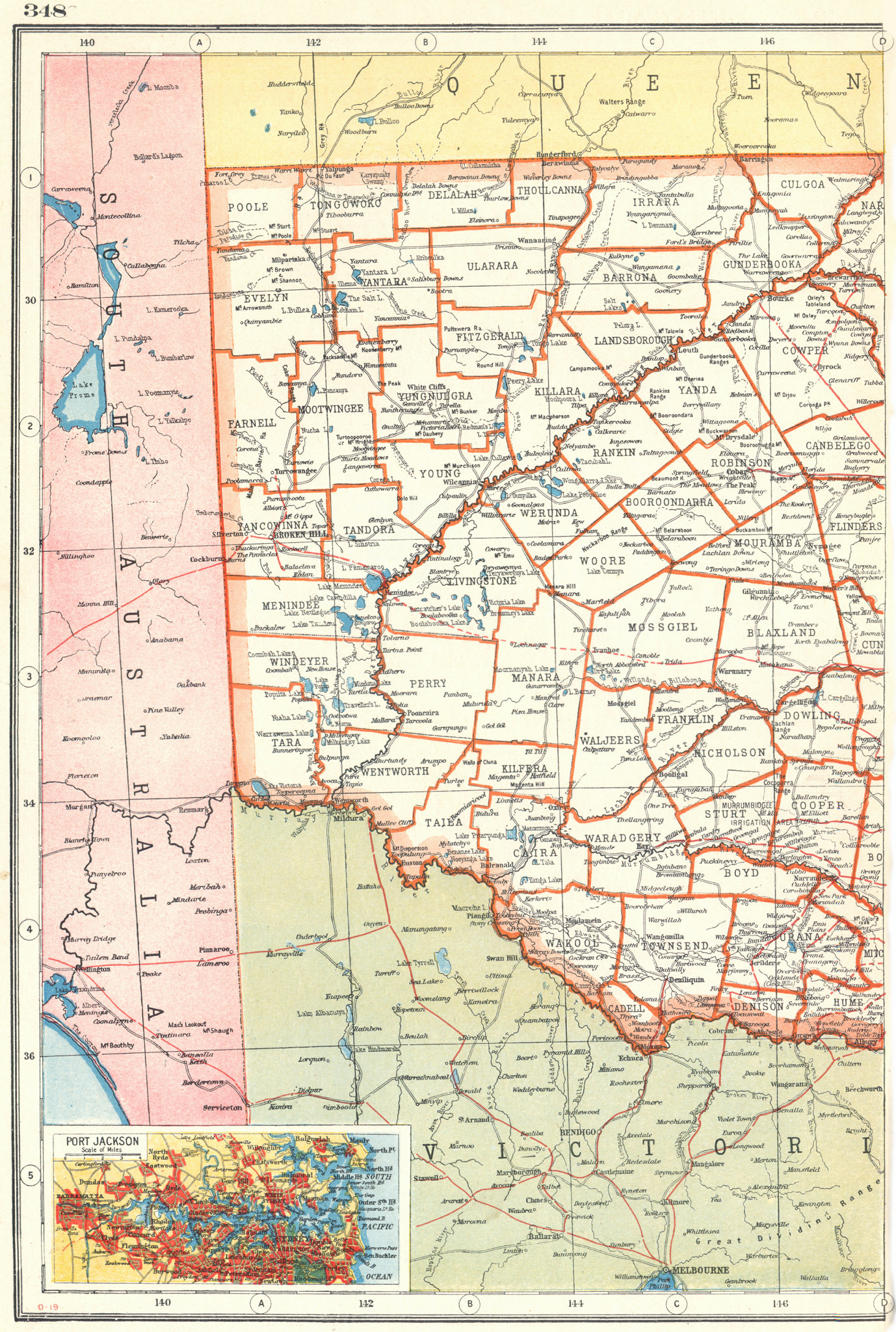 Associate Product NEW SOUTH WALES WEST. Counties. Railways. Inset Sydney. Australia 1920 old map