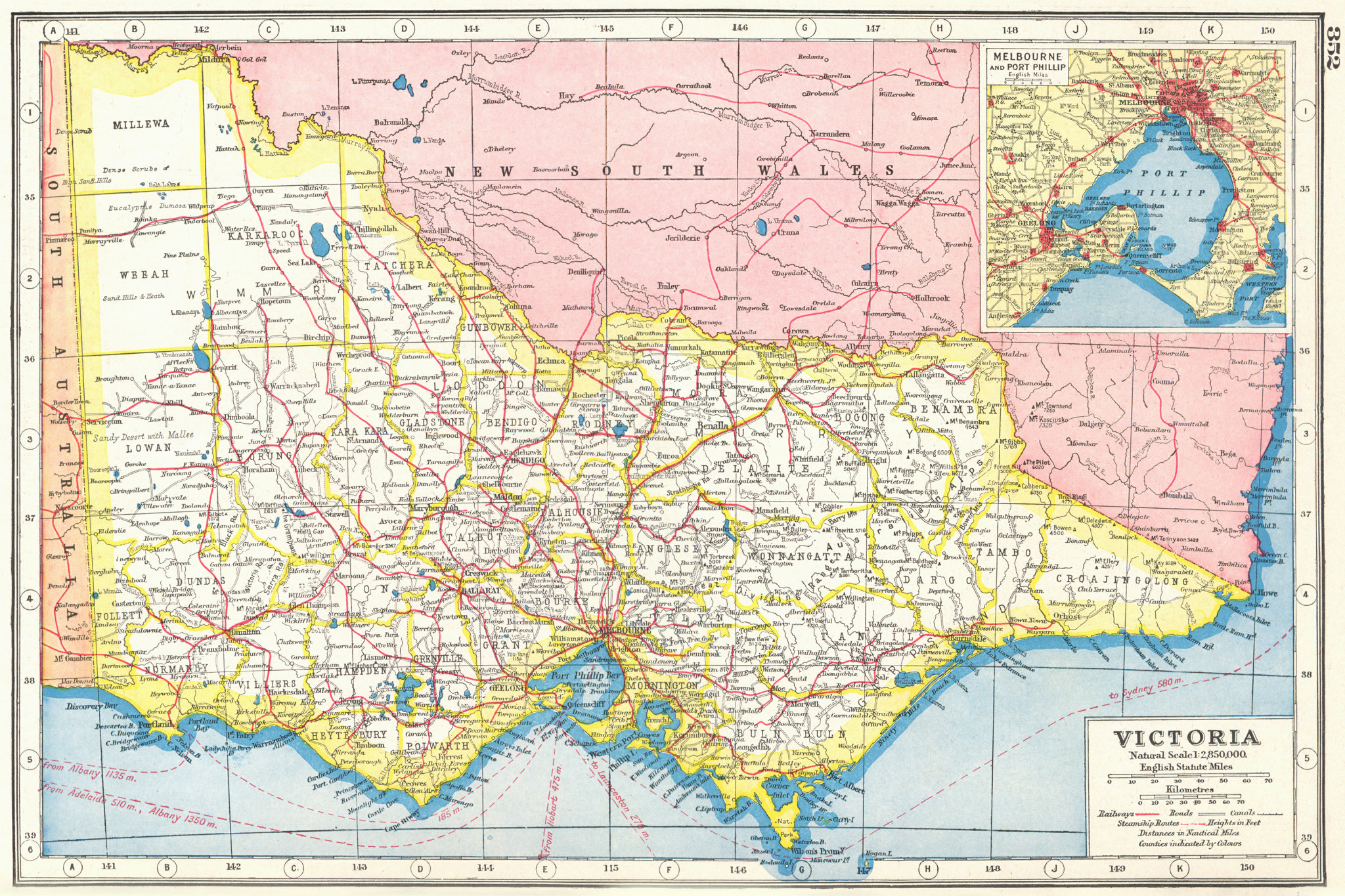 Associate Product VICTORIA. Australia;Inset plan of Melbourne and Port Philip 1920 old map