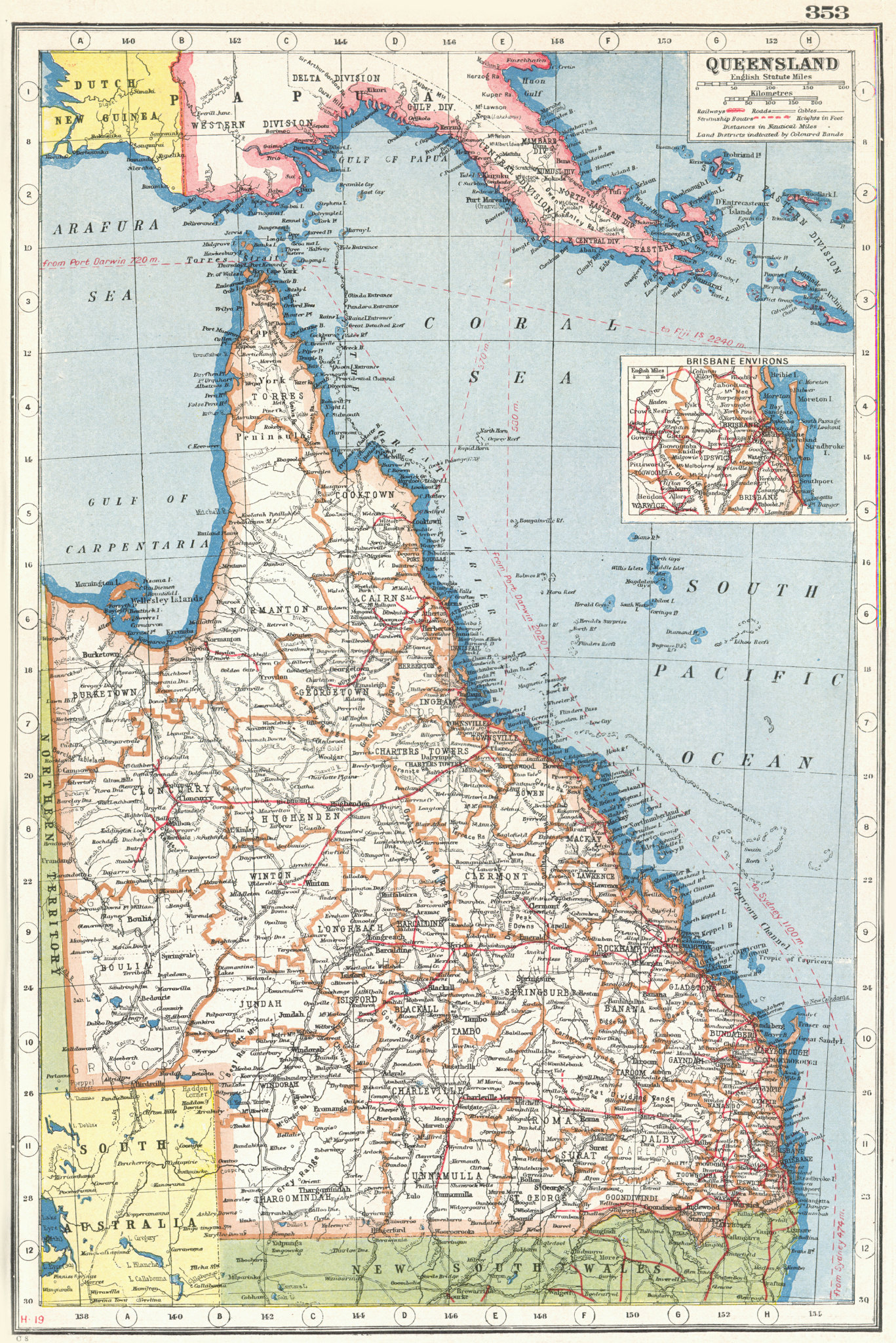 Associate Product QUEENSLAND. State map showing counties. Inset Brisbane Environs 1920 old