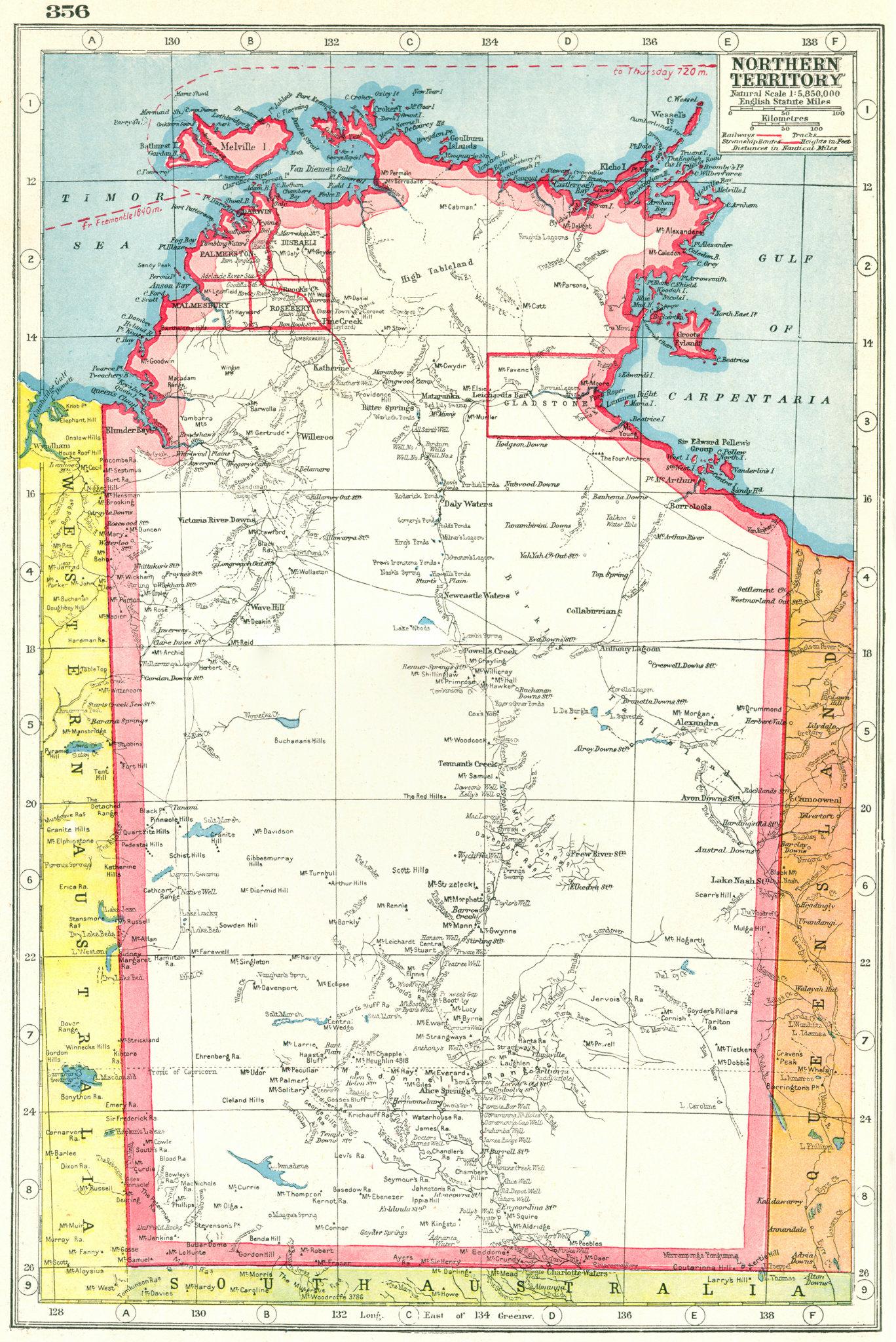 Associate Product NORTHERN TERRITORY. Malmesbury Palmerston Gladstone Disraeli Rosebery 1920 map