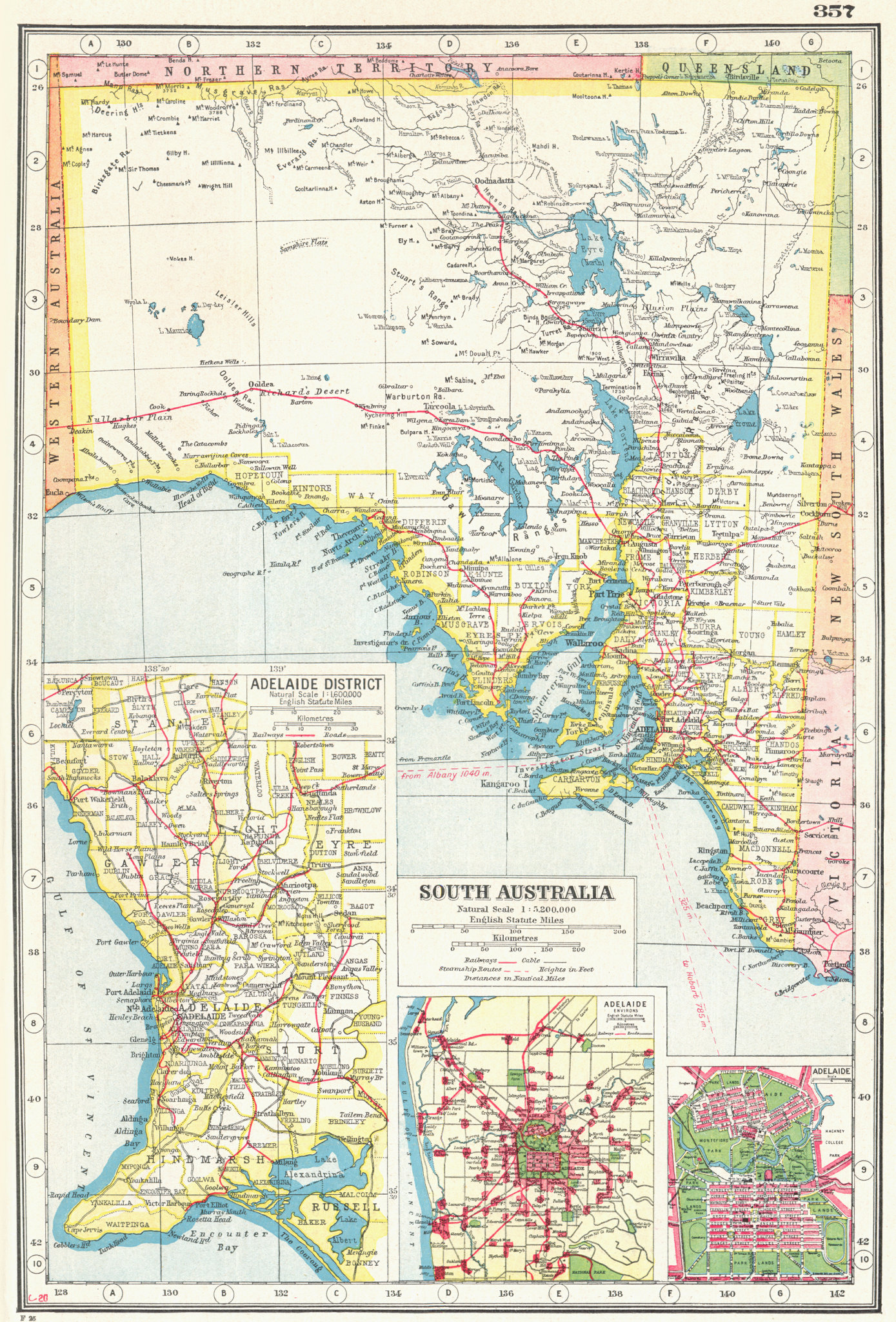Associate Product SOUTH AUSTRALIA.  Inset plans of Adelaide District environs & city 1920 map