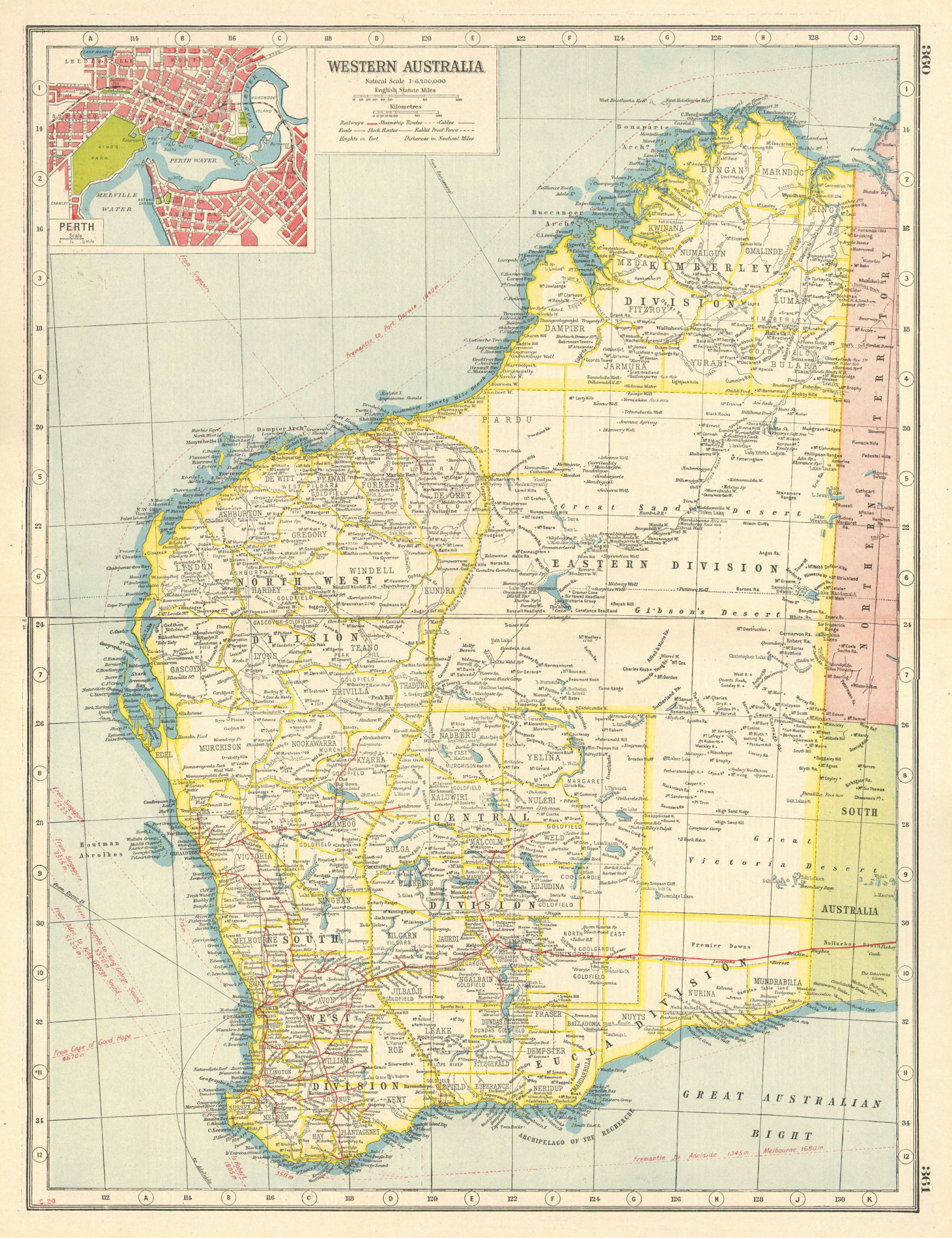Associate Product WESTERN AUSTRALIA. Inset plan of Perth. HARMSWORTH 1920 old antique map chart