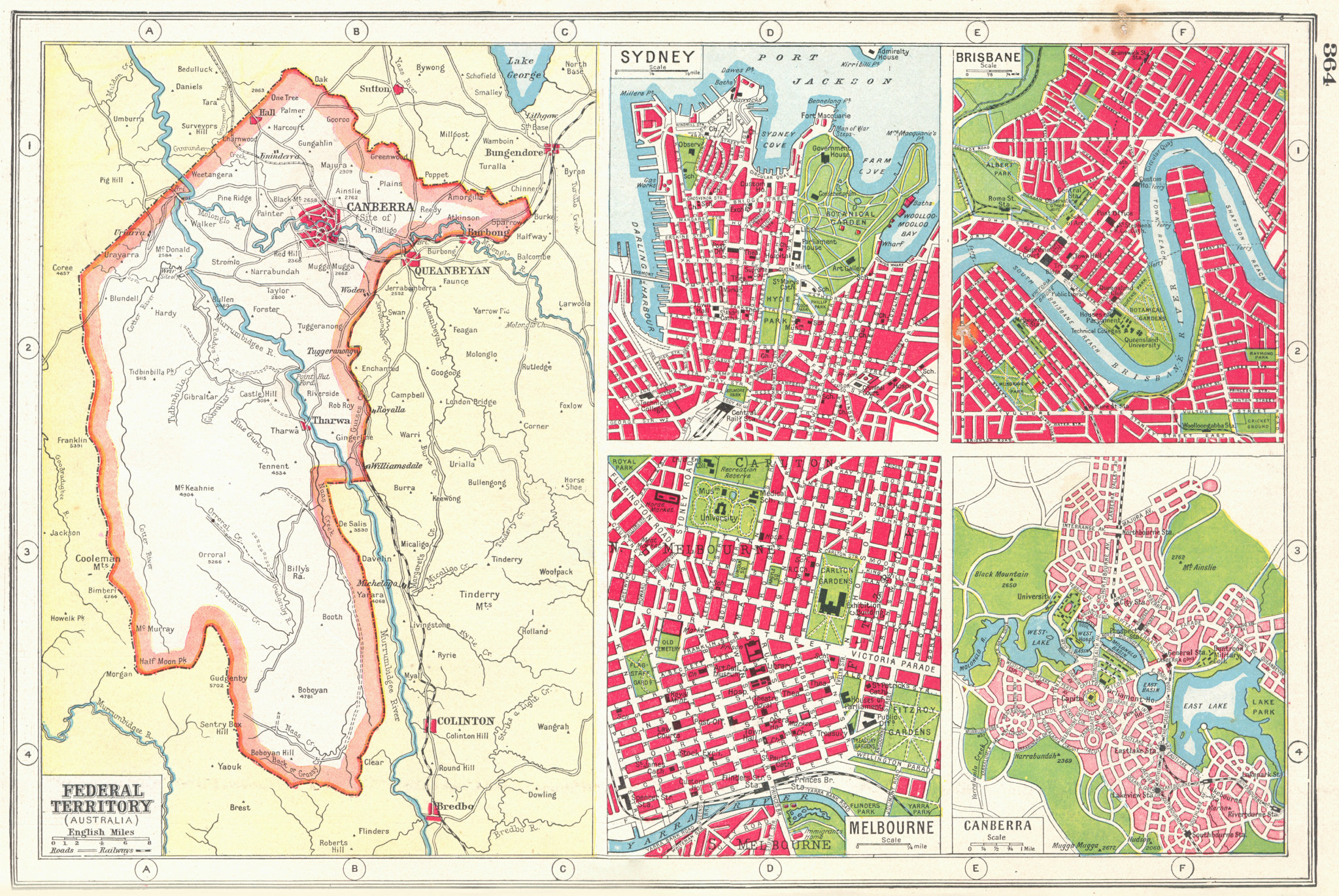 Associate Product AUSTRALIA. Capital Territory Sydney Brisbane Canberra Melbourne plans 1920 map
