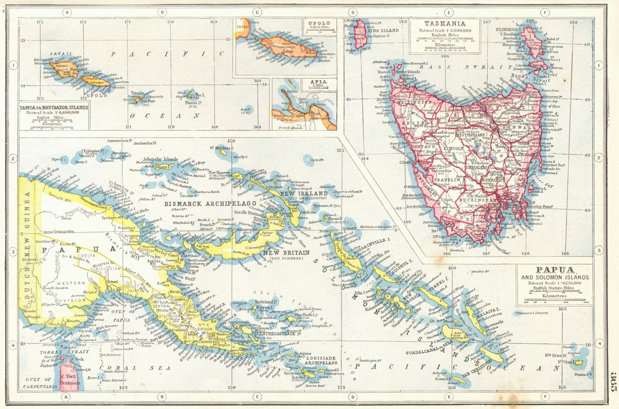 Associate Product TASMANIA SAMOA PAPAU SOLOMON ISLANDS. Navigator islands Upolu Apia 1920 map