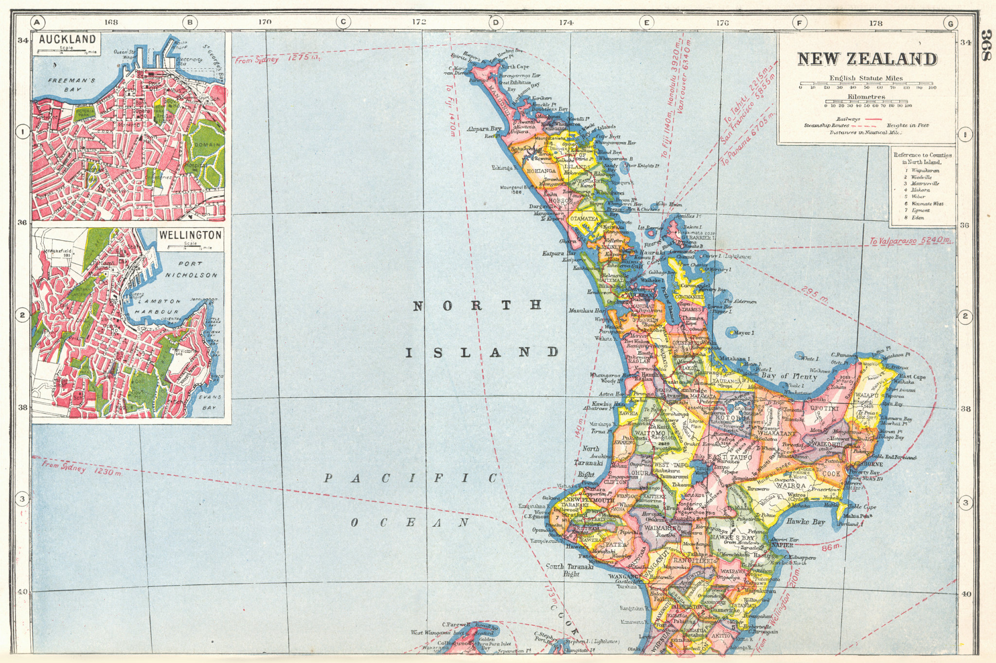 Associate Product NEW ZEALAND NORTH ISLAND.Inset plans of Auckland & Wellington.Counties 1920 map