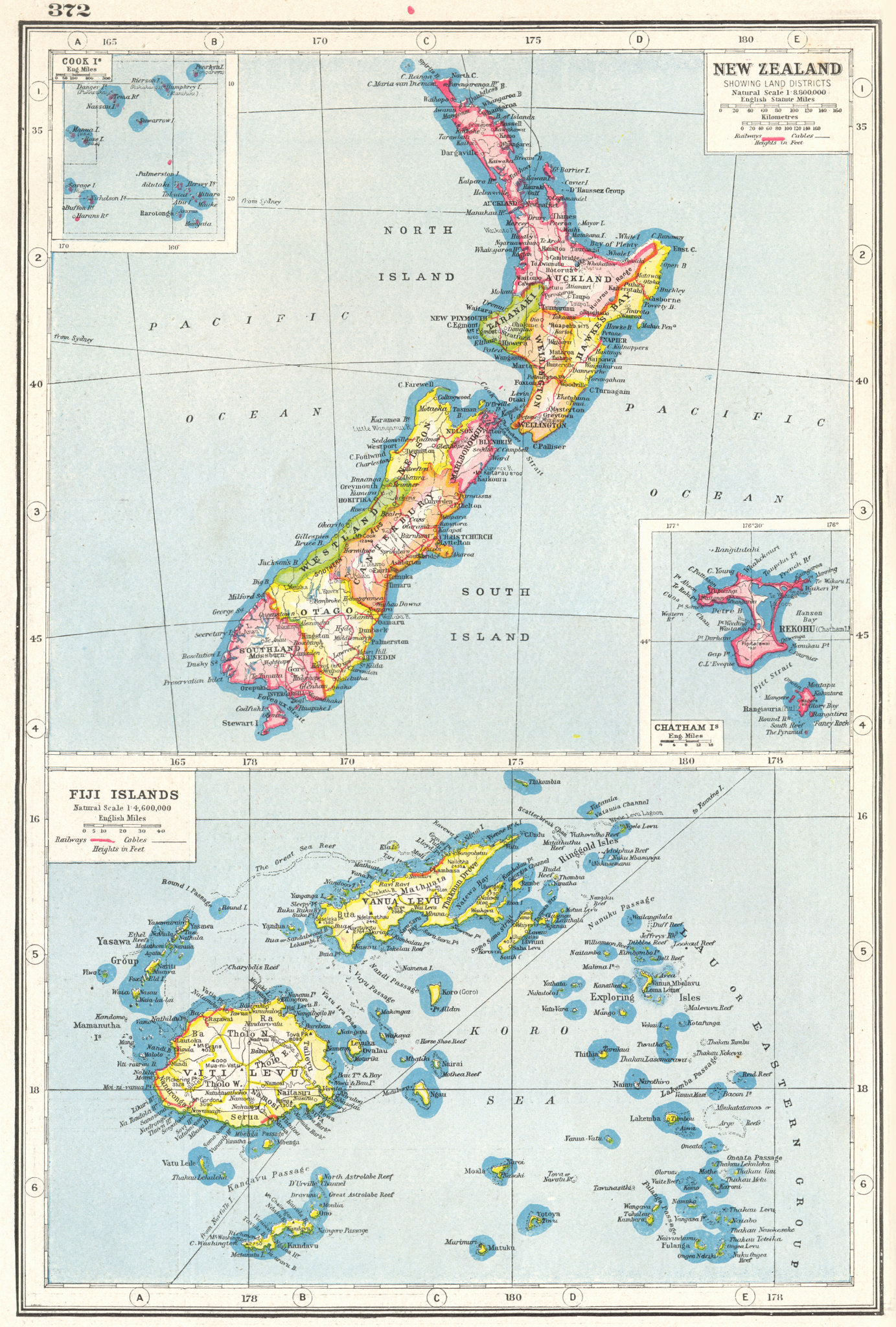 Associate Product NEW ZEALAND. showing Land districts; Fiji Cook Chatham islands. Rail. 1920 map