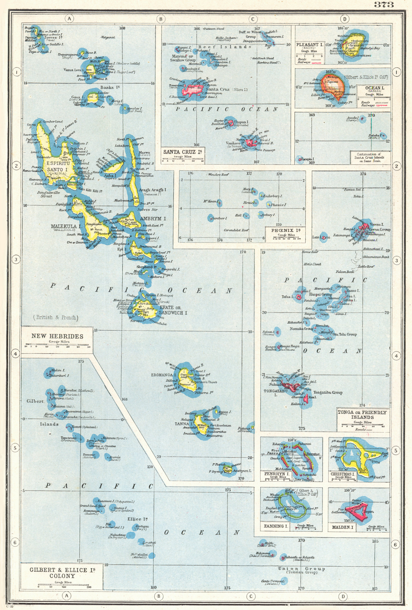 Associate Product BRITISH PACIFIC ISLANDS. New Hebrides Gilbert Ellice Tonga Christmas 1920 map