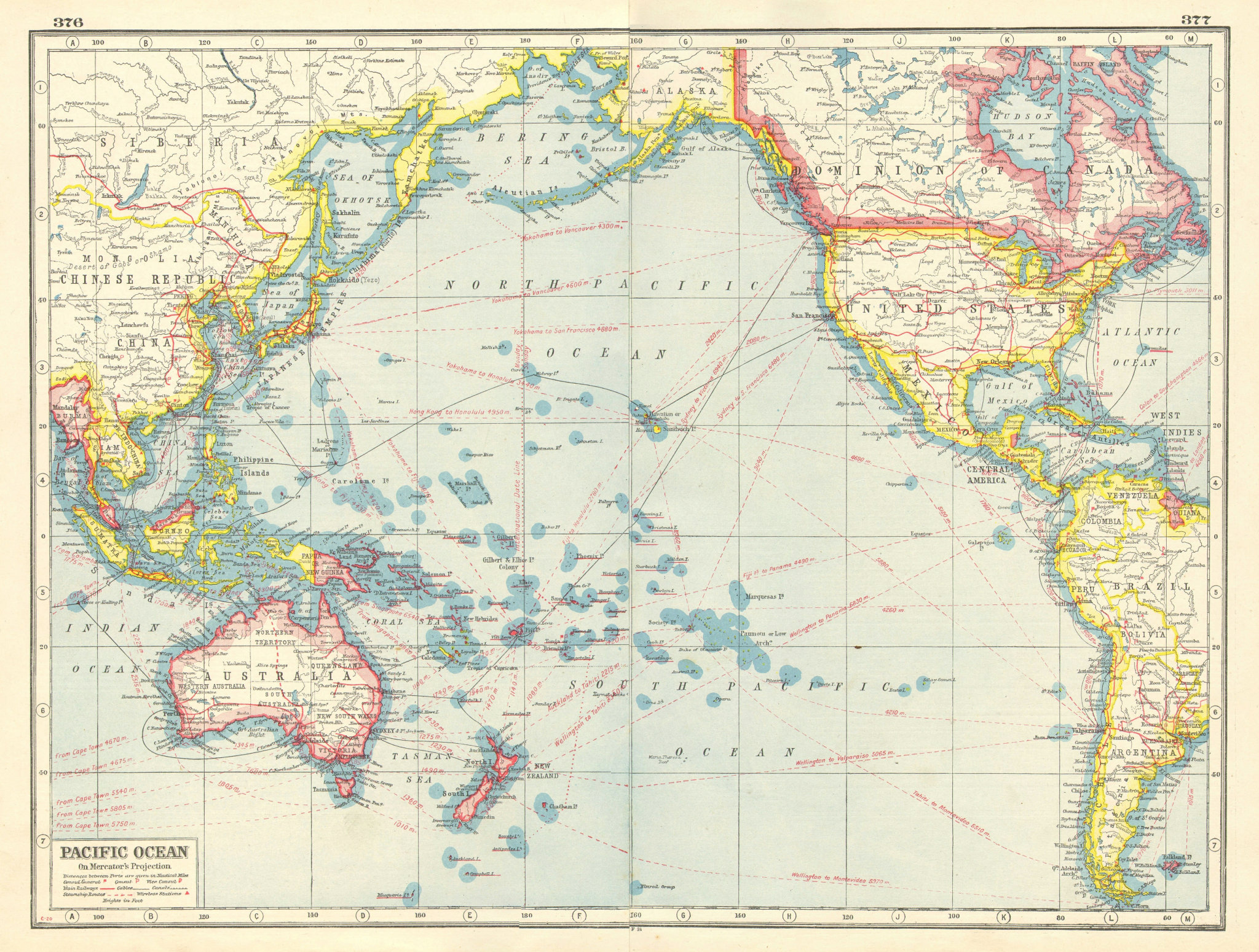 Associate Product PACIFIC OCEAN. Mercator Projection. Railways cables steamship routes 1920 map