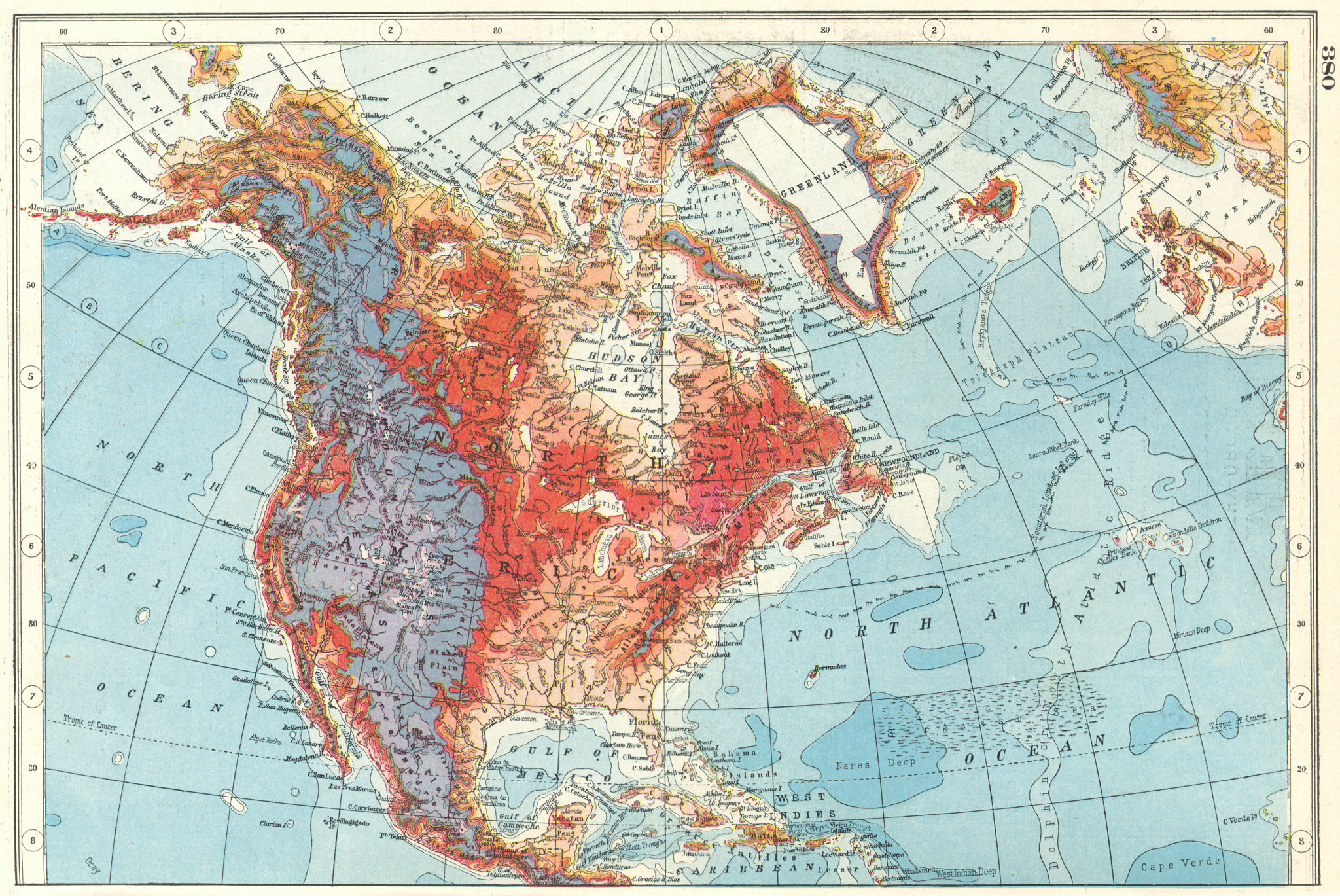 Associate Product NORTH AMERICA RELIEF. Ocean depths mountain heights. HARMSWORTH 1920 old map