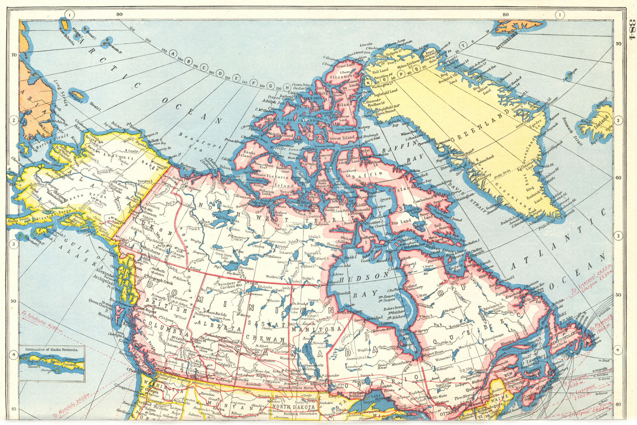 Associate Product CANADA. Showing provinces. HARMSWORTH 1920 old antique vintage map plan chart