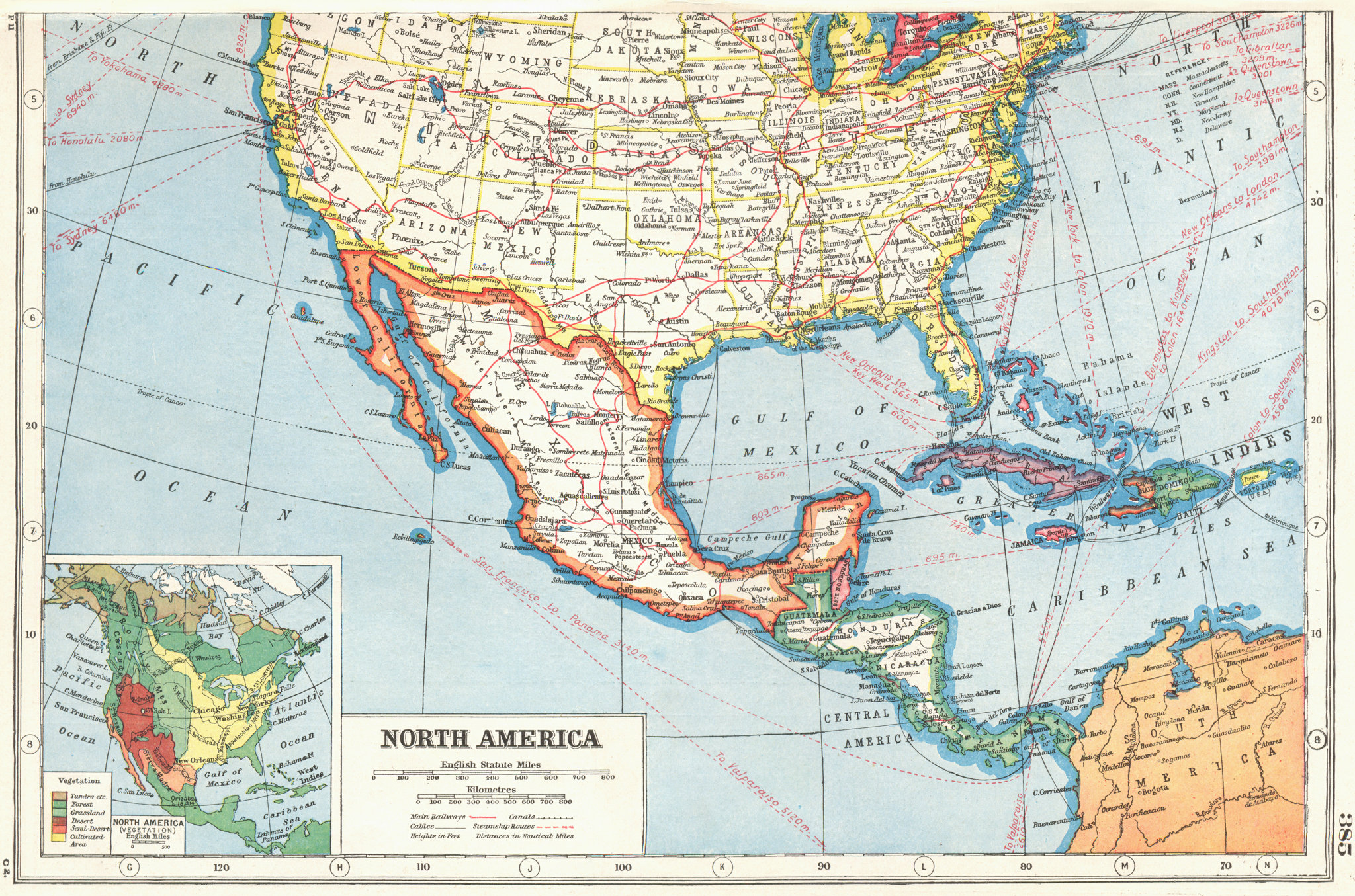 Associate Product NORTH AMERICA. Southern United States & Mexico ;inset Vegetation 1920 old map