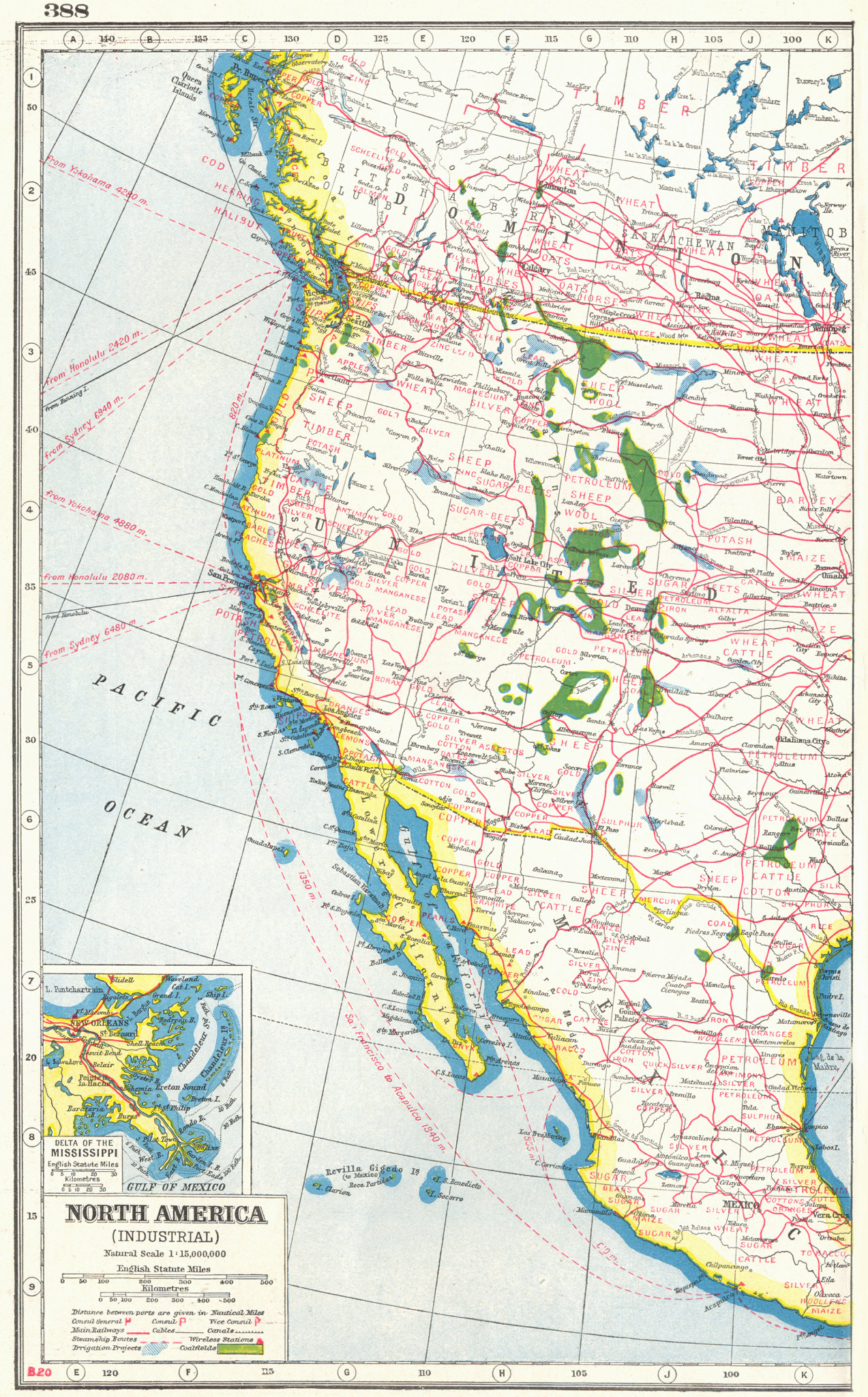 Associate Product NORTH AMERICA WEST.Agricultural/Commercial products.Mississippi delta 1920 map