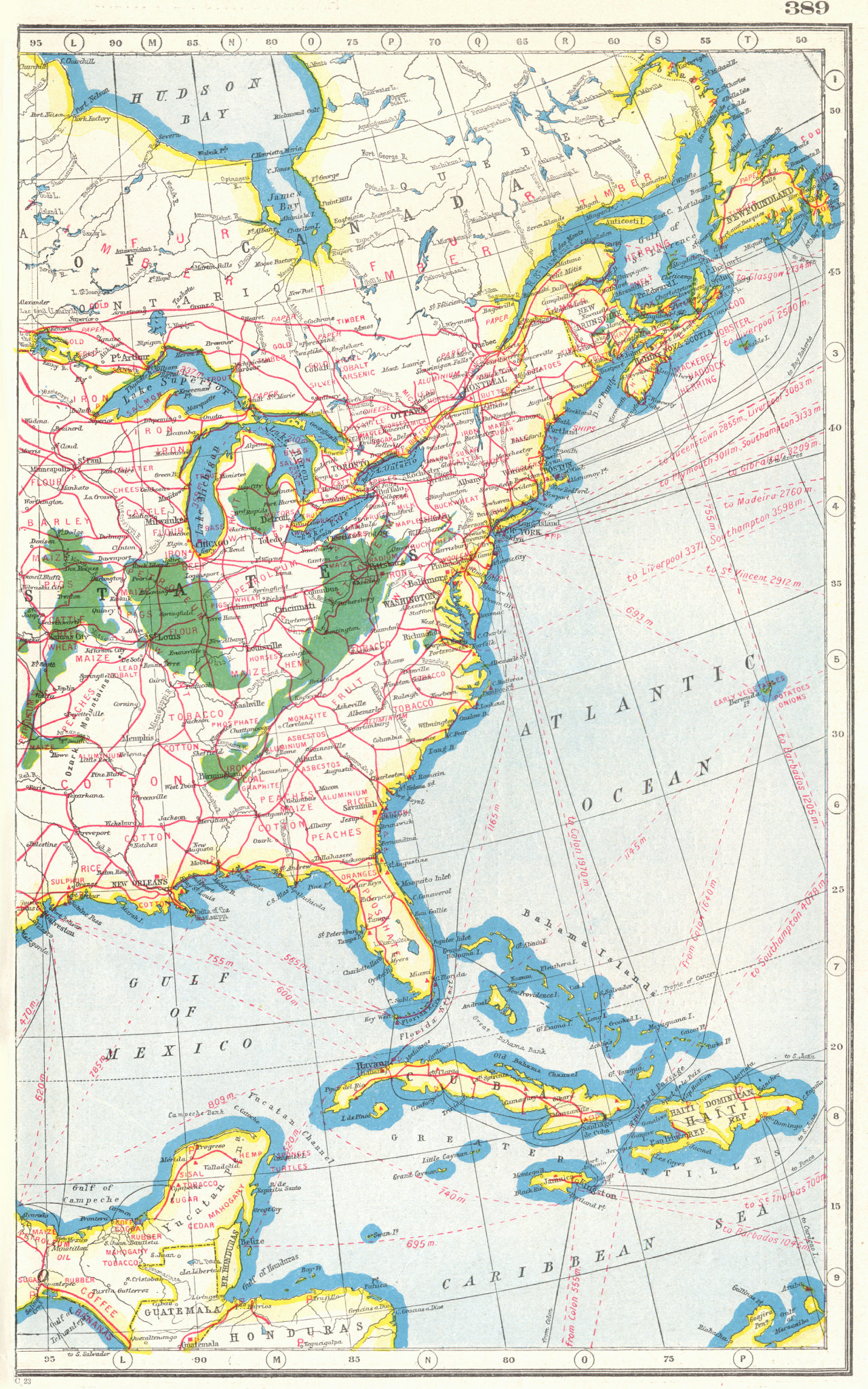 Associate Product NORTH AMERICA EAST. Showing Agricultural & Commercial products 1920 old map
