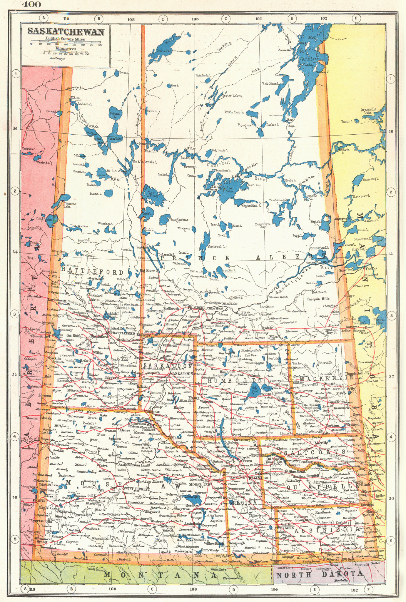Associate Product SASKATCHEWAN. Showing railways. Canada. HARMSWORTH 1920 old antique map chart