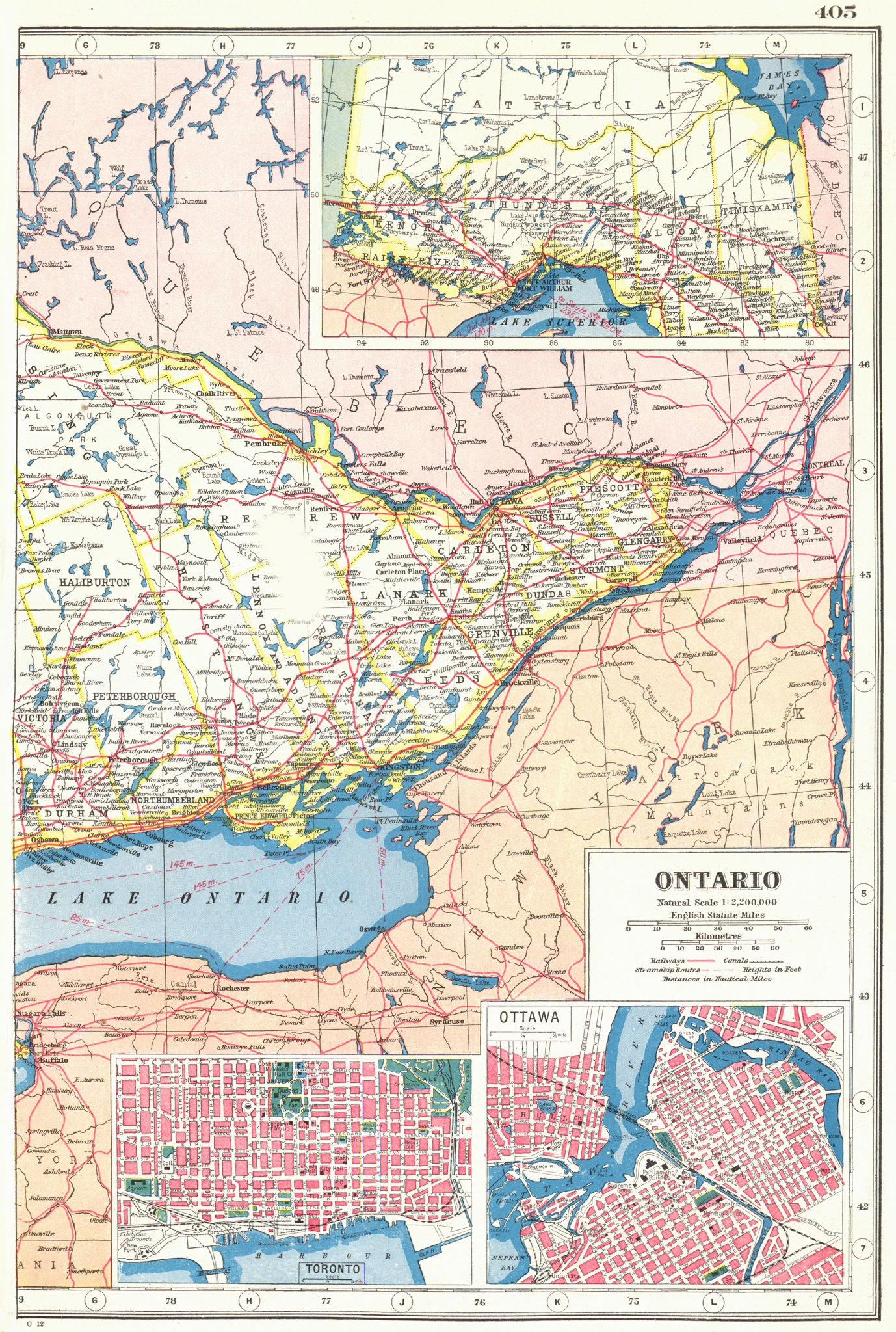 Associate Product ONTARIO EAST. Inset plans of Toronto, Ottawa. HARMSWORTH 1920 old antique map