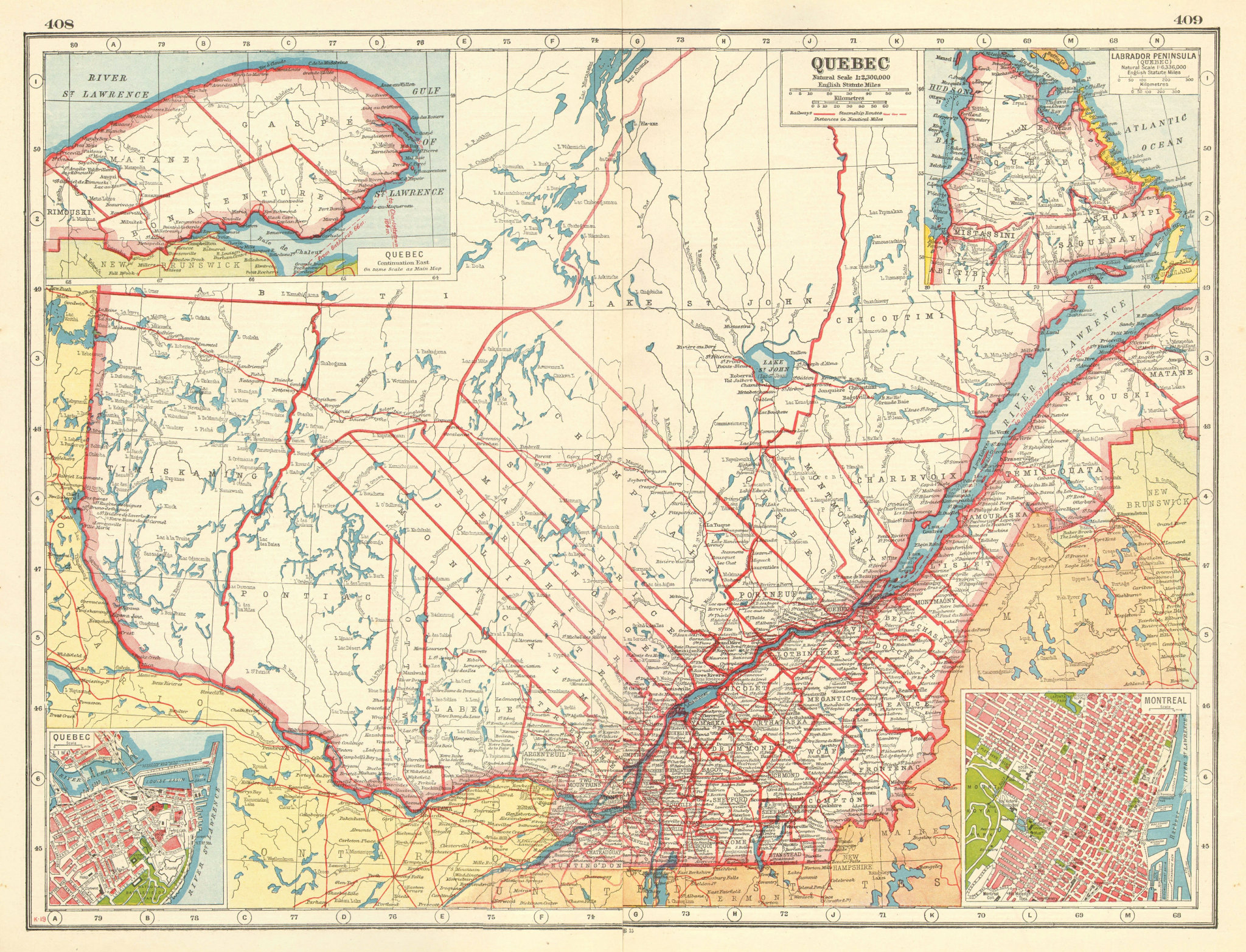 Associate Product QUEBEC QUÉBEC. Showing counties. Inset plans of Quebec City & Montreal 1920 map